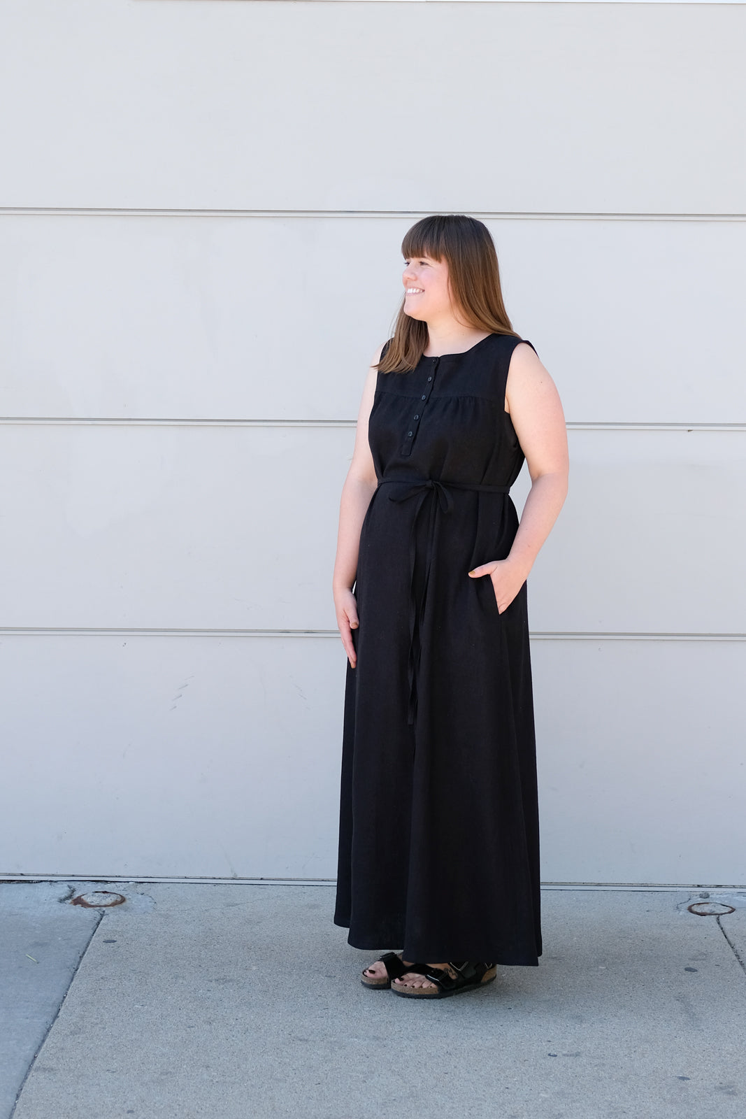Kaylee's full length Black linen/cotton Maxi brome