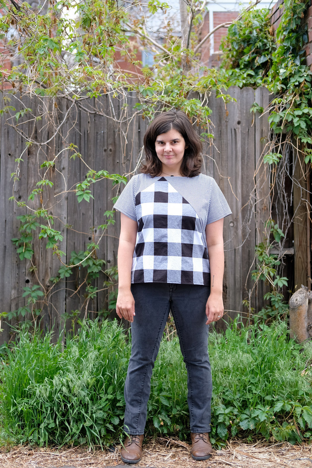 Miranda's Check Saltbox Top