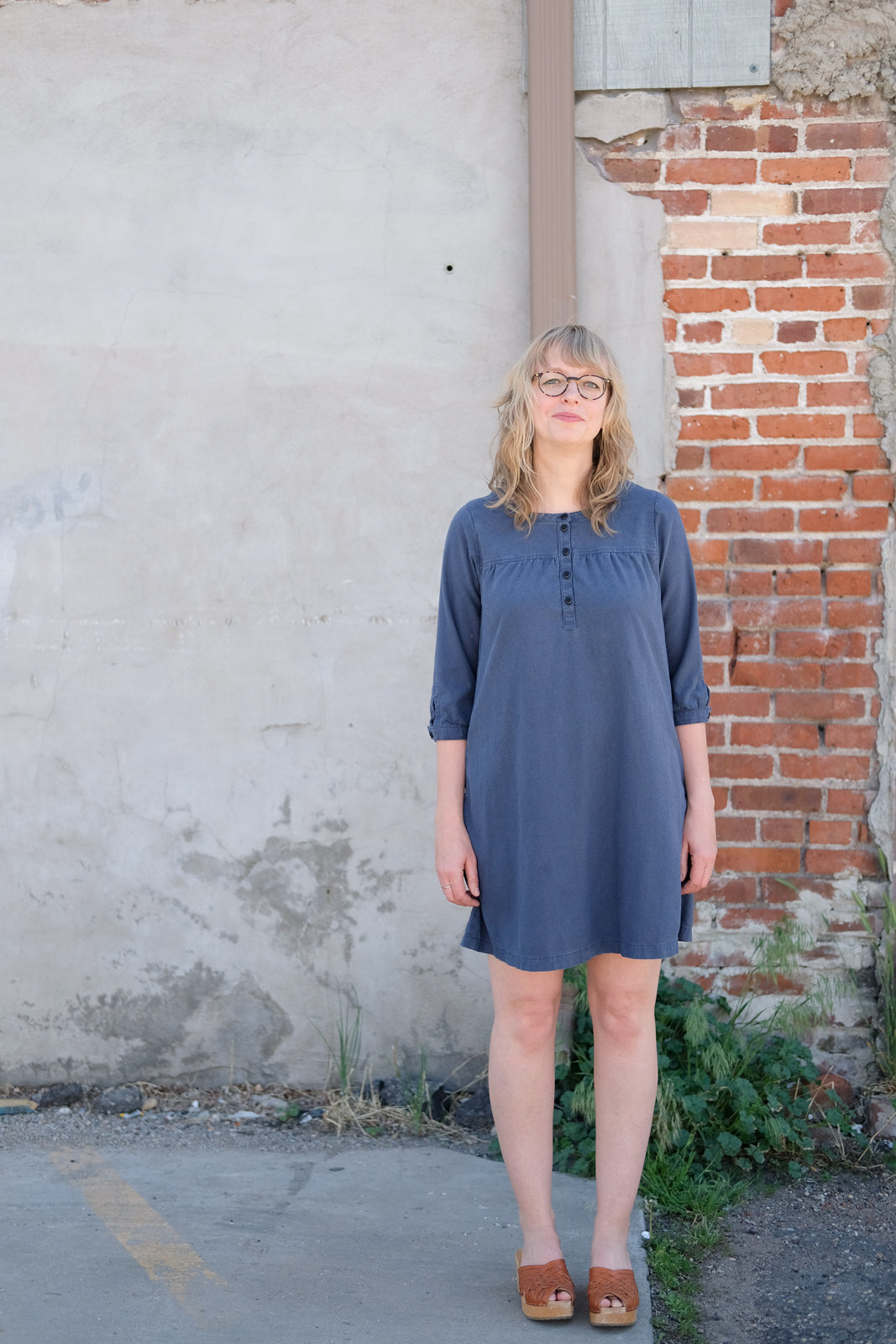 Amber's Blue Raw Silk Noil Brome Dress