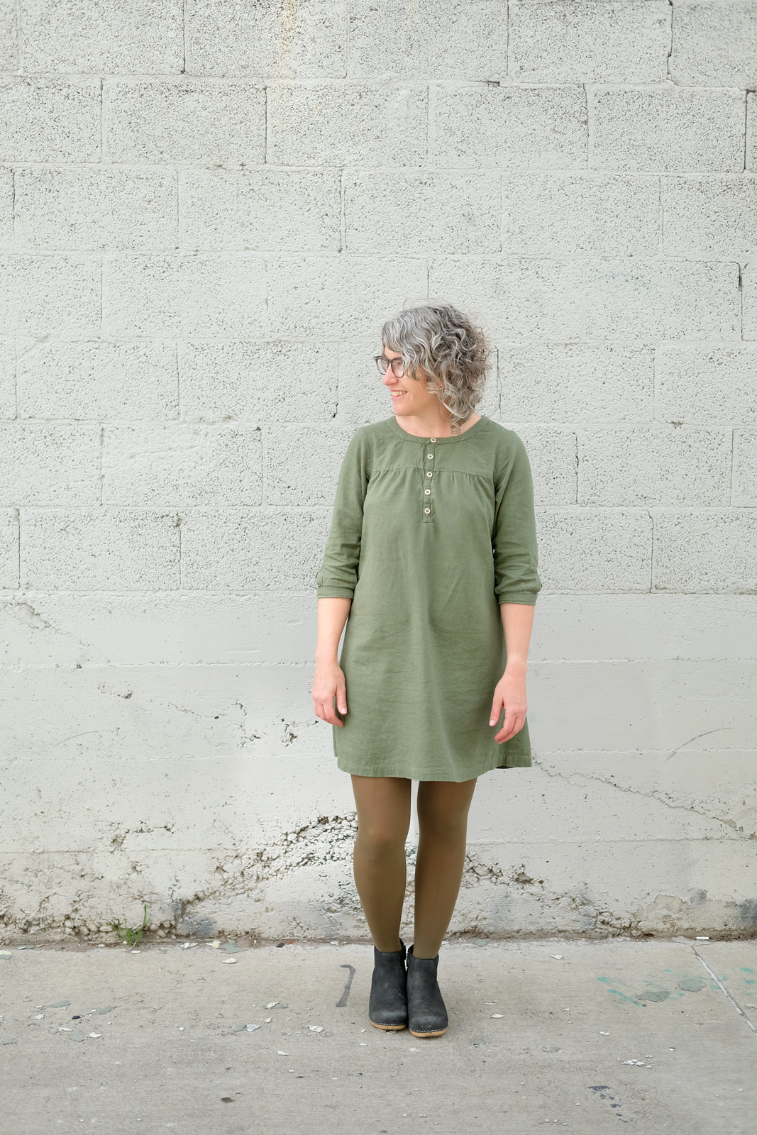 Jaime's olive green brome dress