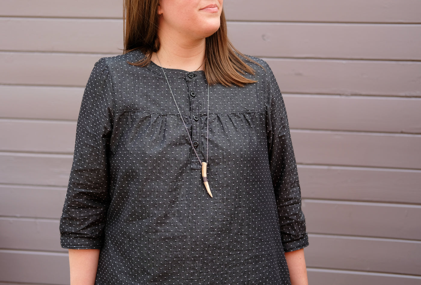 Placket Detail on Kaylee's Black Chambray dot Brome