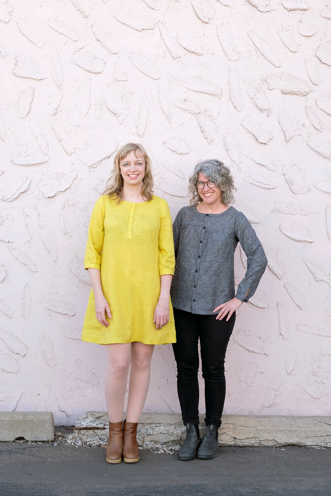Amber in a Yellow Linen Brome Dress and Jaime in a Grey Brome Shirt