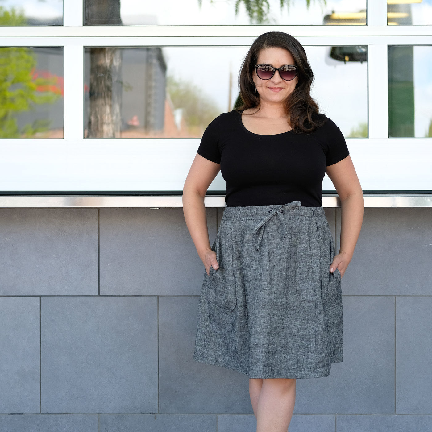 Tiffani in her Goji skirt made from Brussels Washer Yarn-dyed Black