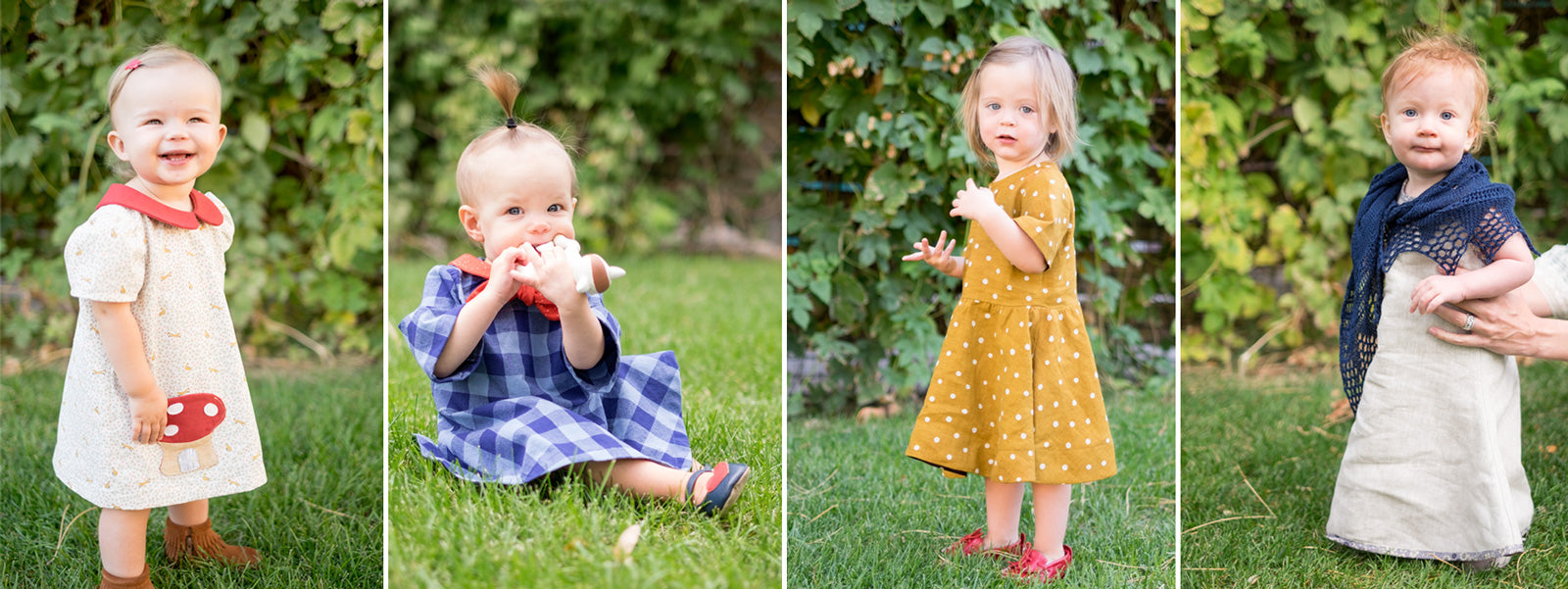 Four different dresses made from the Building Block Dress Book