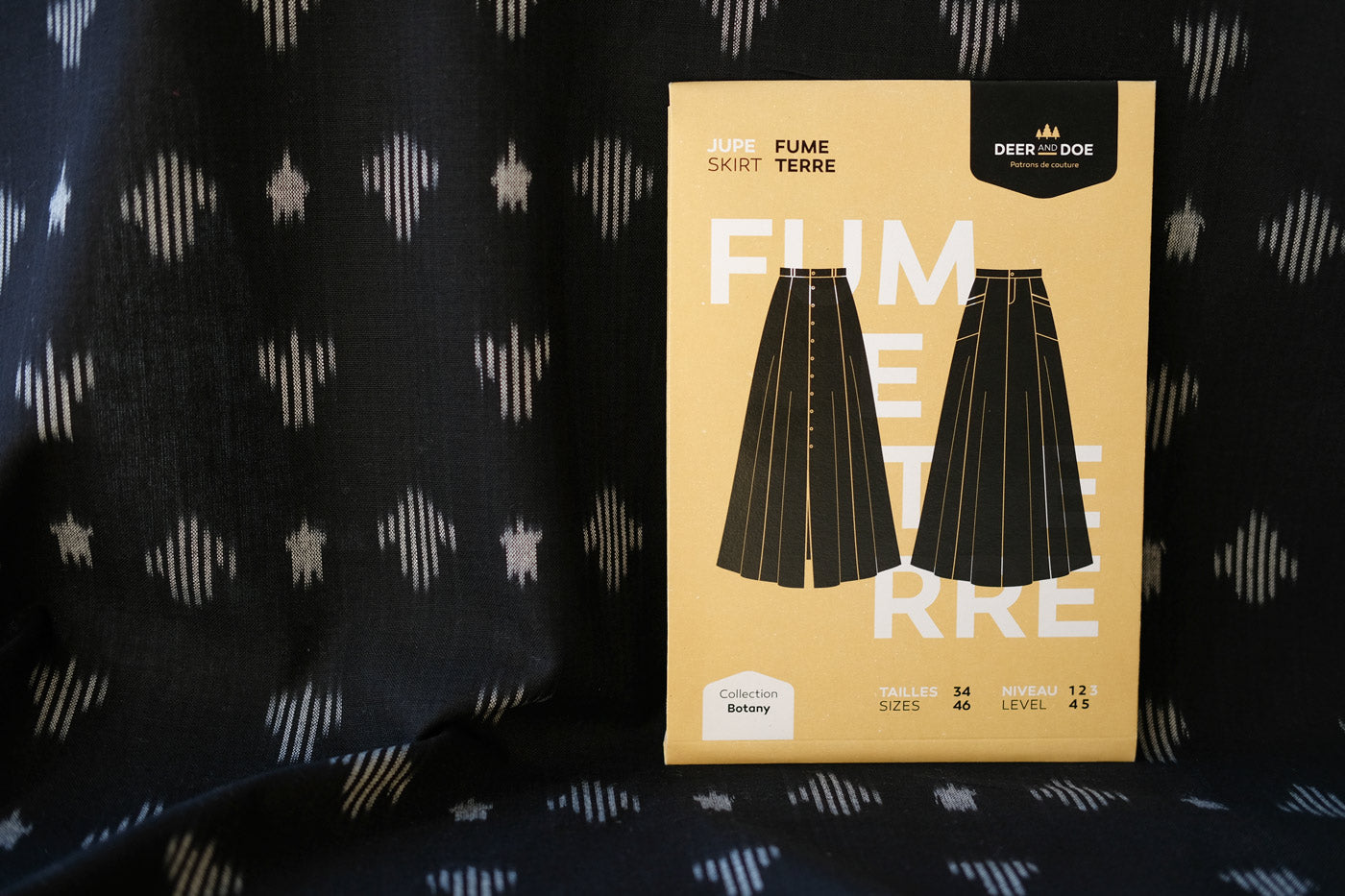Deer and Doe Fumeterre skirt in Indian black ikat
