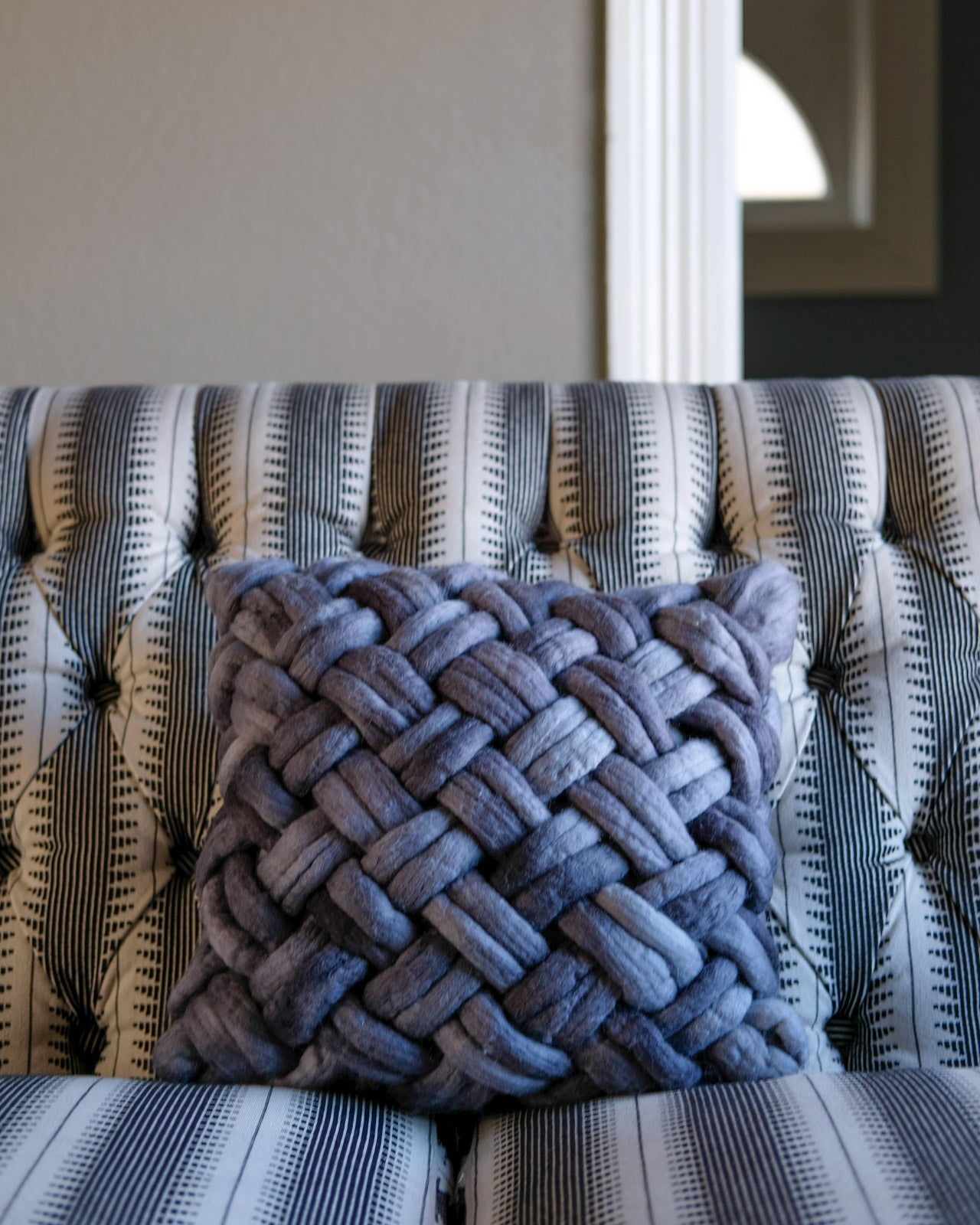 Weaving Within Reach Chunky Woven Pillow in Pewter Carnaby Yarn Co felted Merino Hank