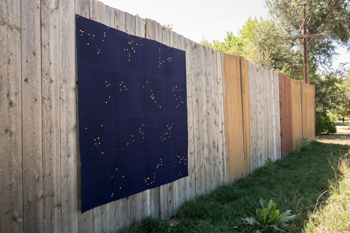 Wideshot of Amber's completed Constellation Quilt