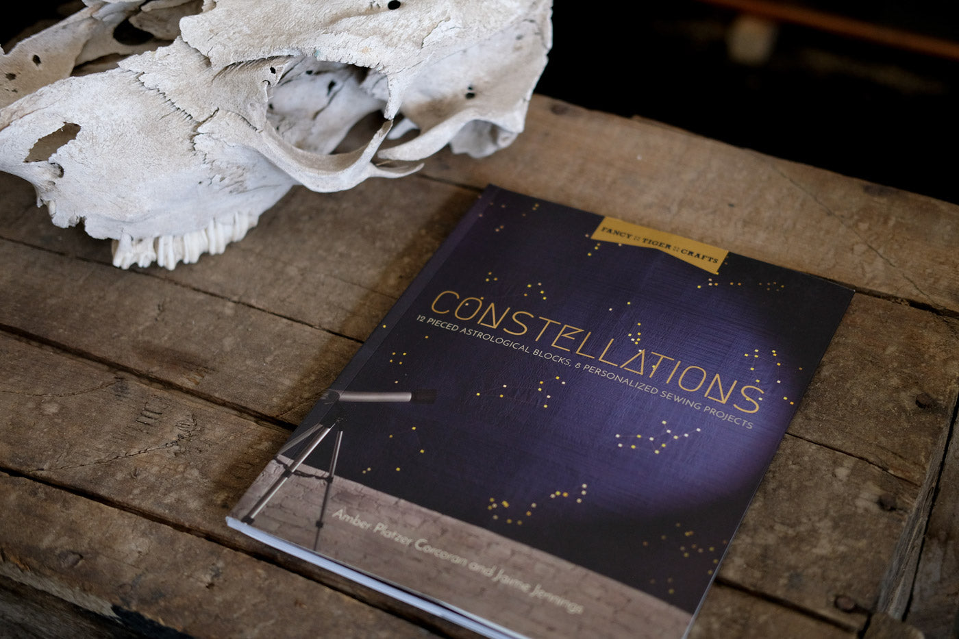 Constellations book sitting on a wooden table next to an animal skull