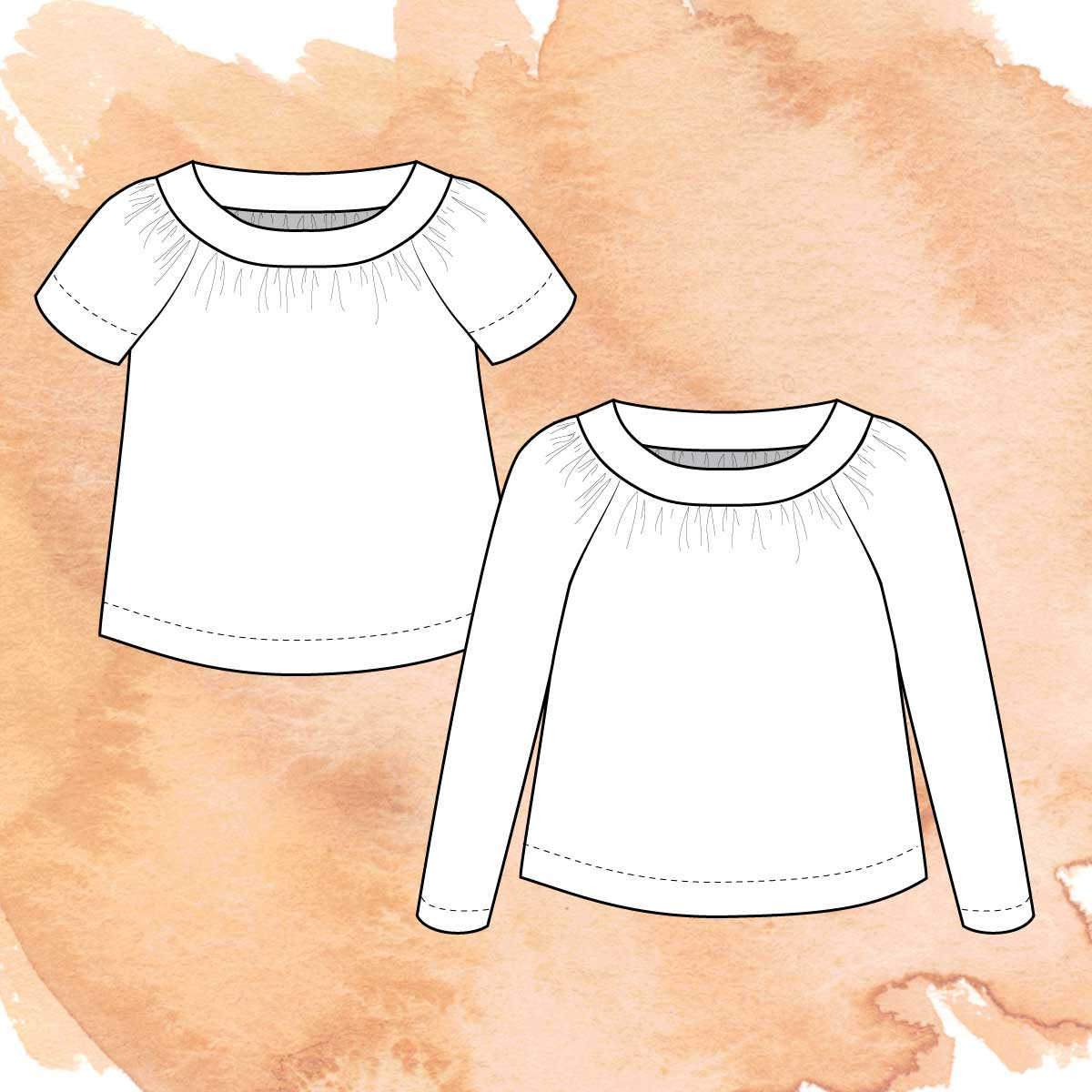 Illustration of the two views of Crodyline - short and long sleeve tops.
