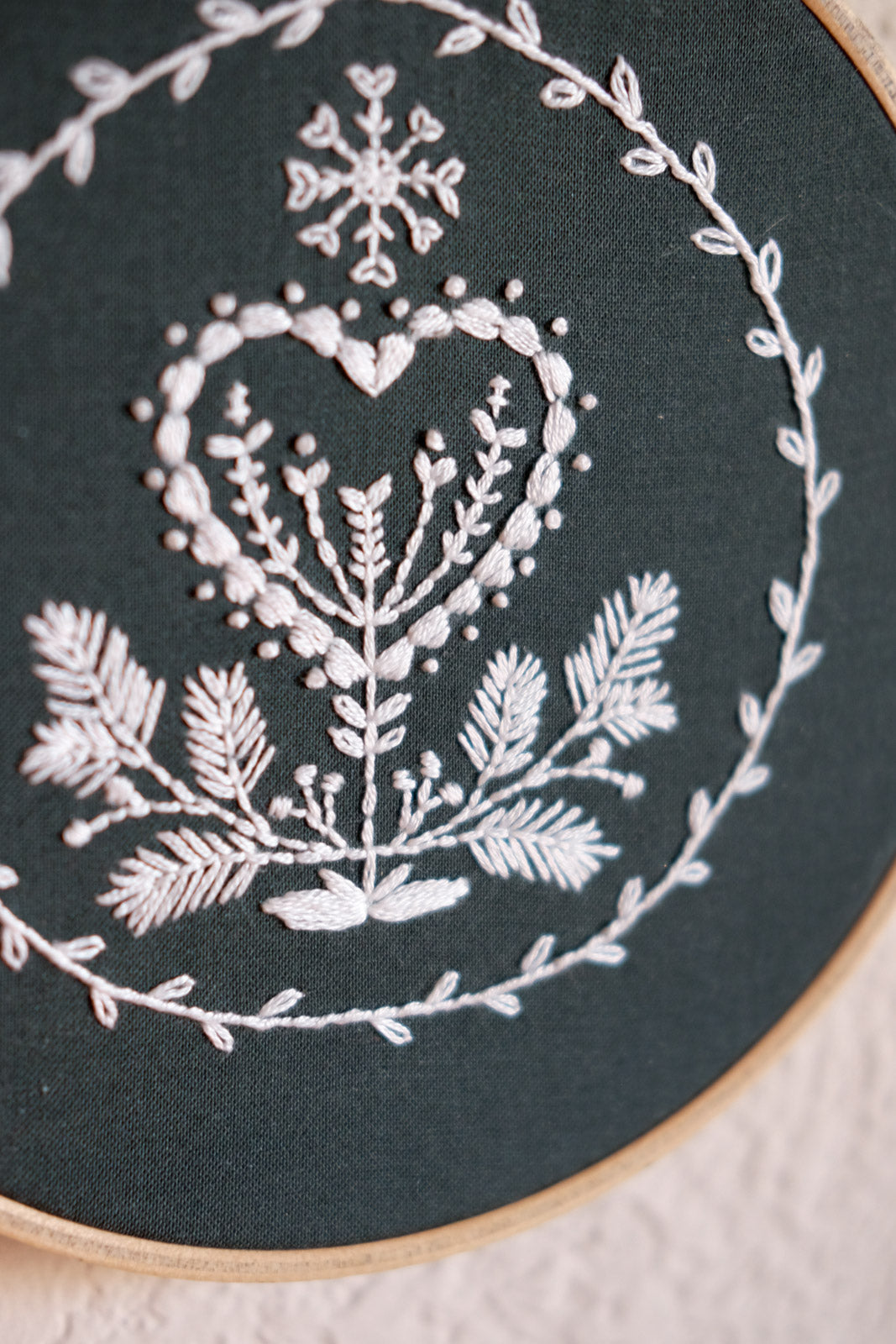 Detail of the Cozy Blue Holiday Heart Embroidery
