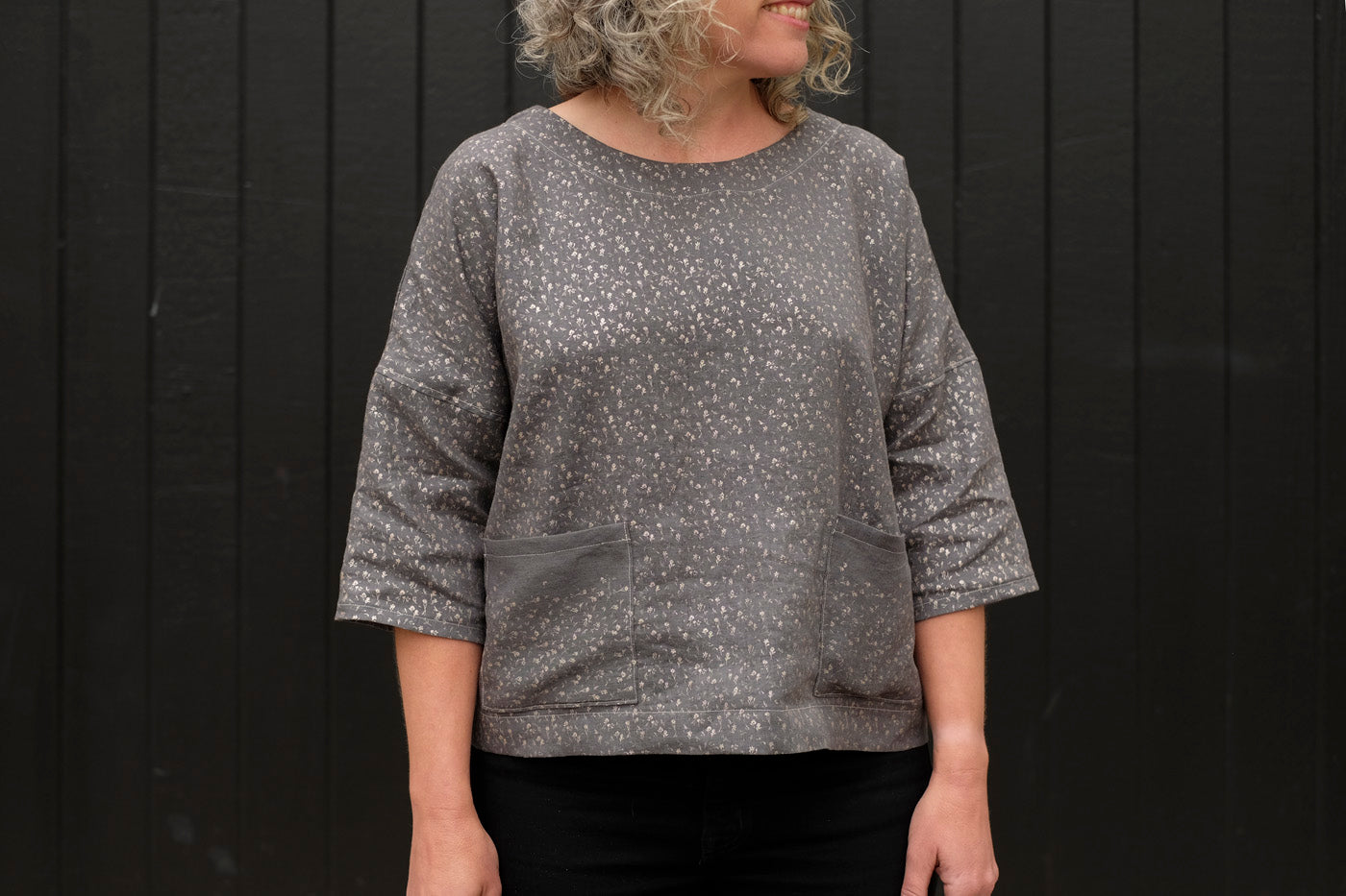 Front view of wiksten shift top version in nani iro linen