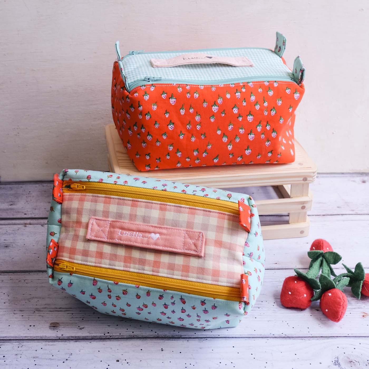 Caitlin's handsewn double zip pouches