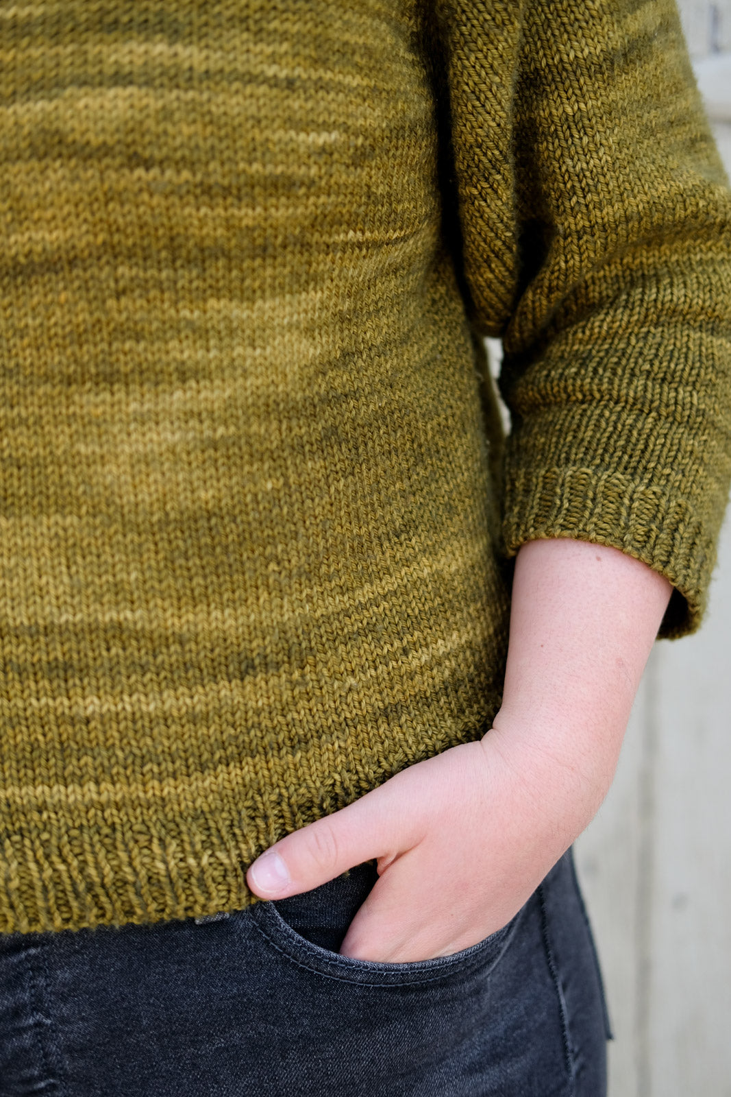 Detail of Madelinetosh DK in Oak colorway