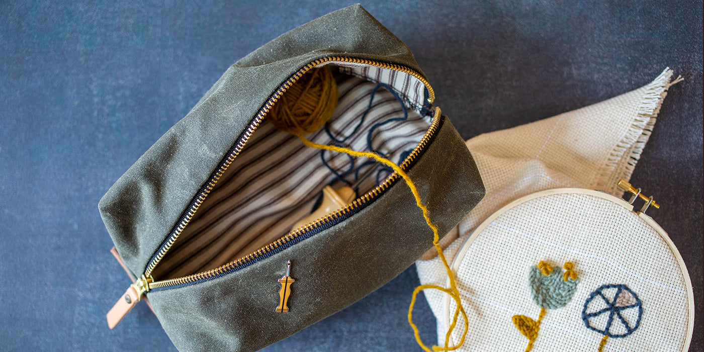 Hand sewn waxed canvas dopp kit