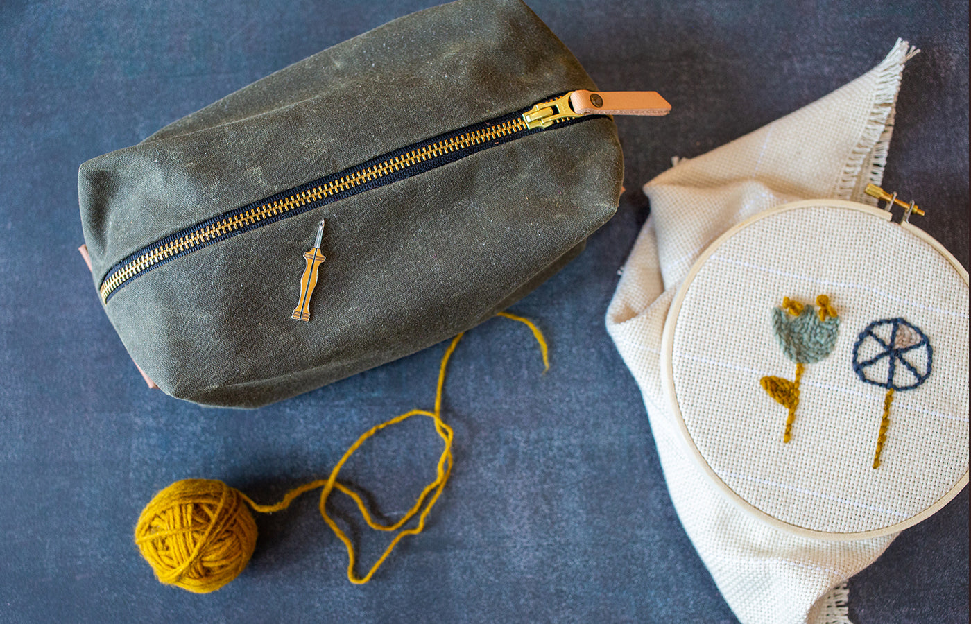 Waxed Canvas dopp kit is perfect for travel sewing supplies