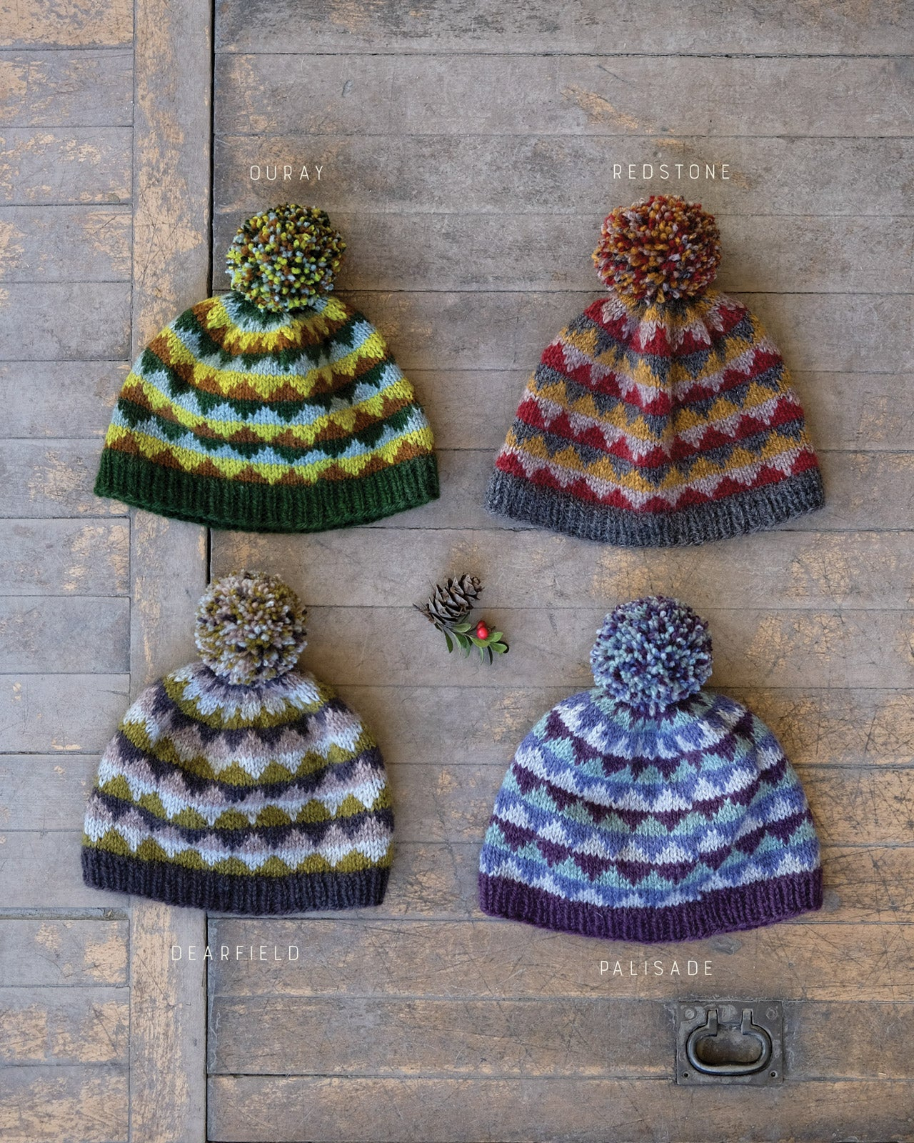 Each of the Eshaness Colorway's knit up in hats