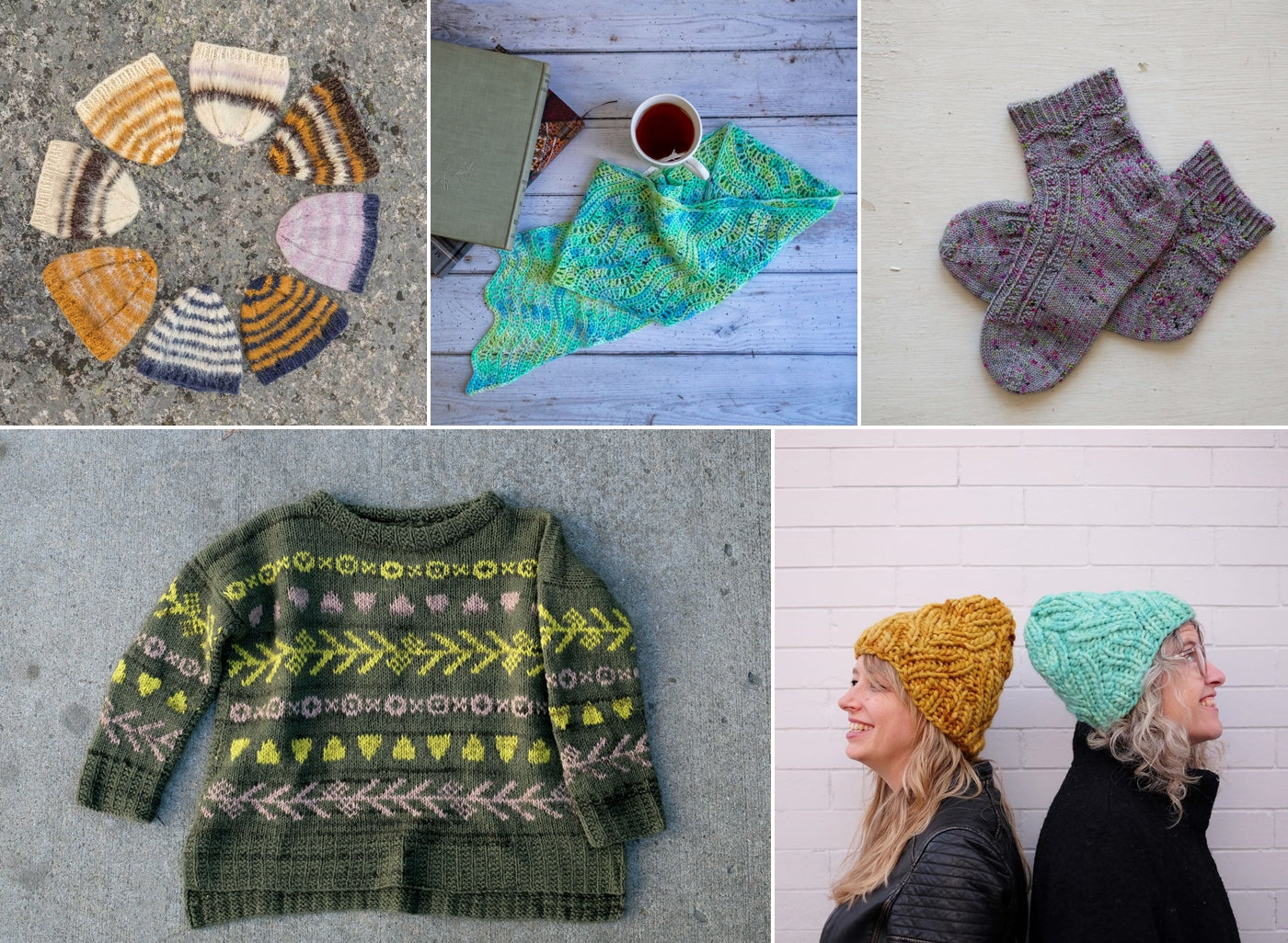 Blog Collage of 2019 Cobertor Hats all in a circle, Stormy Seas Scarf by Dorian Owen, Thunder and Lightening Socks, Vivarium Pullover pattern and Jaime and Amber wearing Neighborhood Holiday Hats.