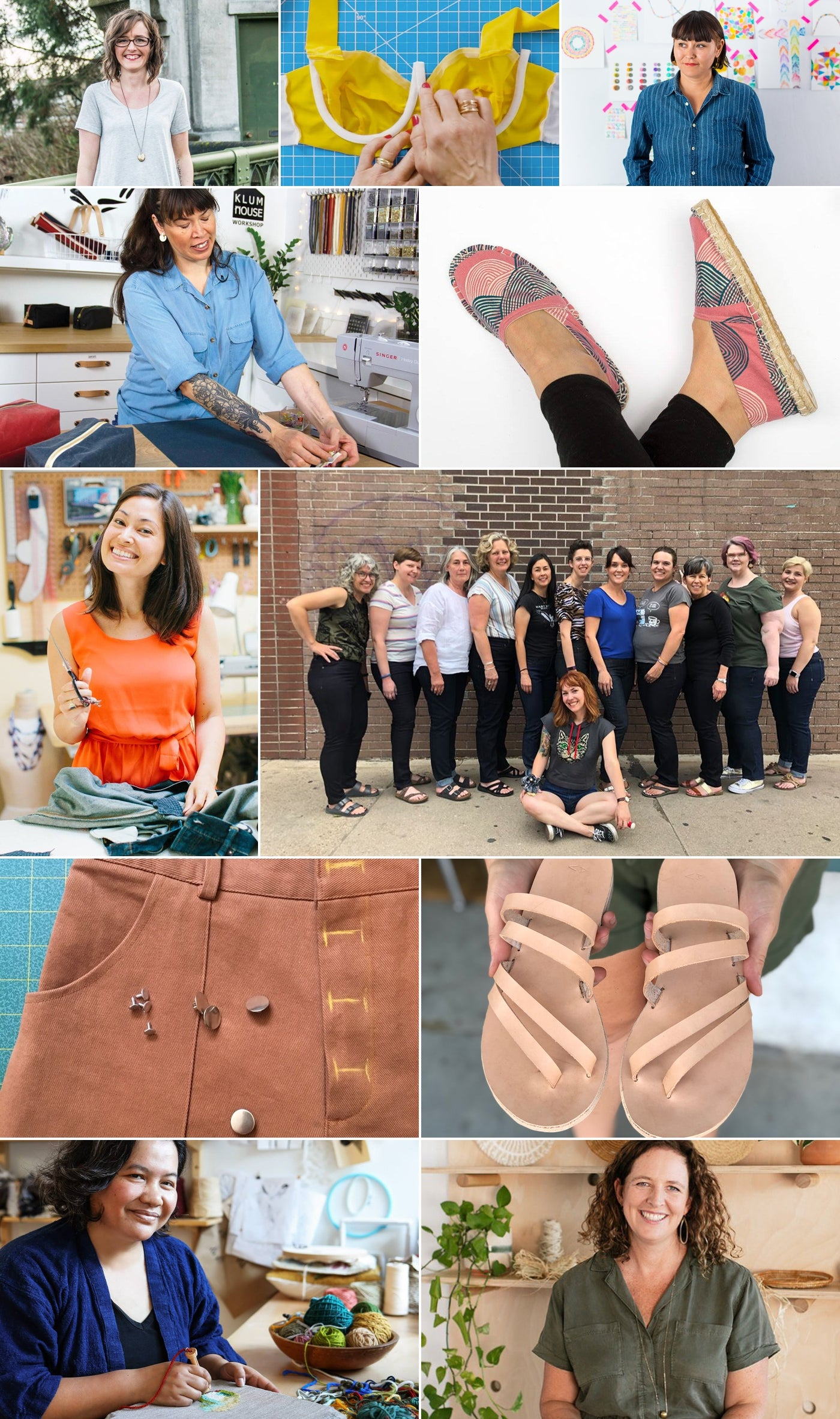Blog Collage of 2019 teaching instructors that came to Fancy Tiger Crafts along with some detail images of their projects.