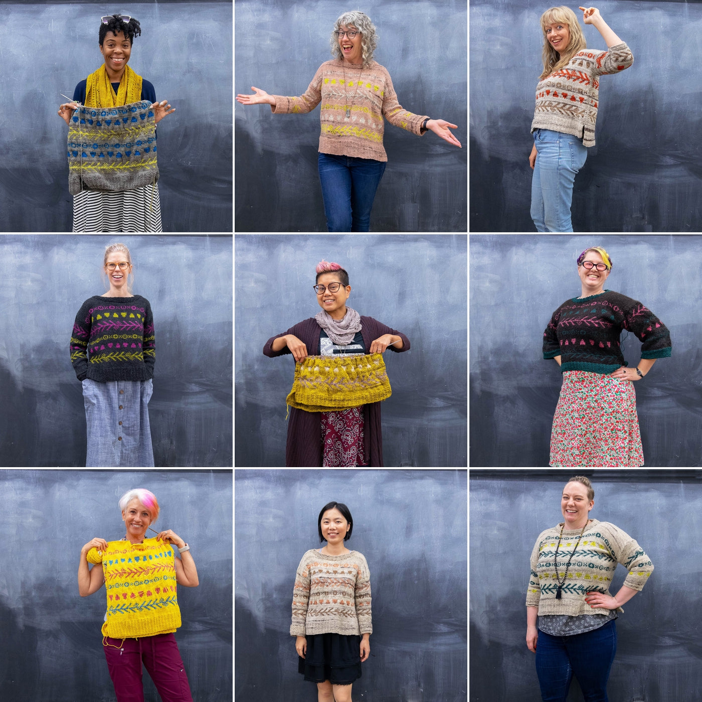 Blog Collage with nine squares showing, 9 attendees for the Vivarium Pullover 2019 Knitalong.  Each person is either holding up their sweater or wearing it.