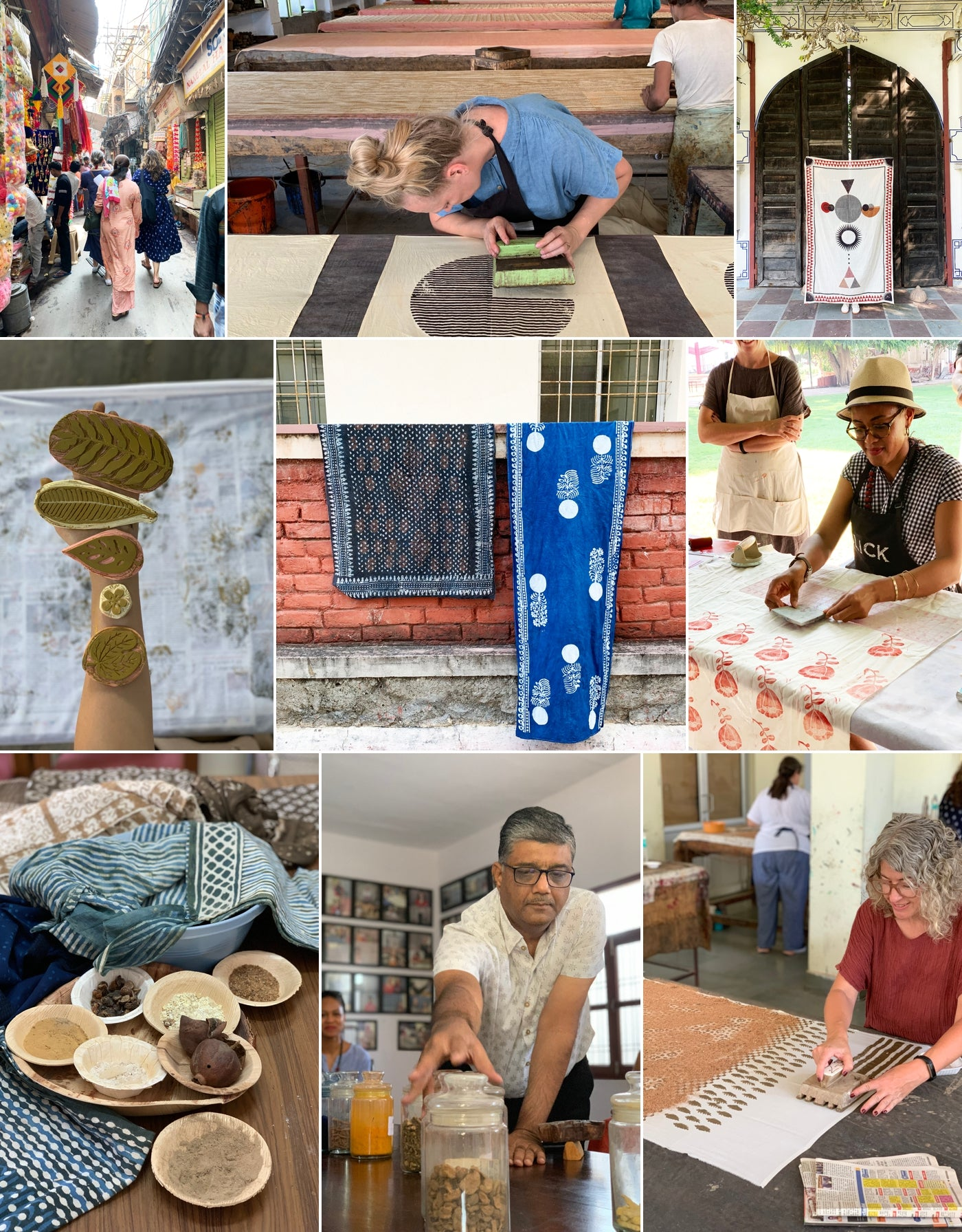 Blog Collage of Jaime and Amber 2019 trip to India.  These photographs range from showing fabric up close with stamping tools to make patterns on fabric, raw fabric dying materials and images of Amber and Jaime stamping material.