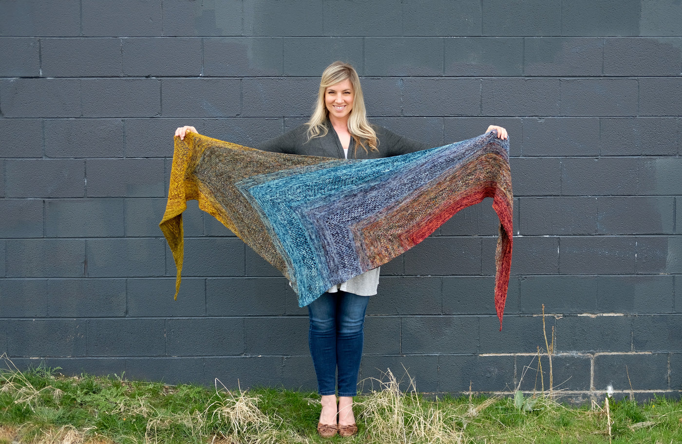 Find Your Fade Shawl unwrapped showing a rainbow of colors