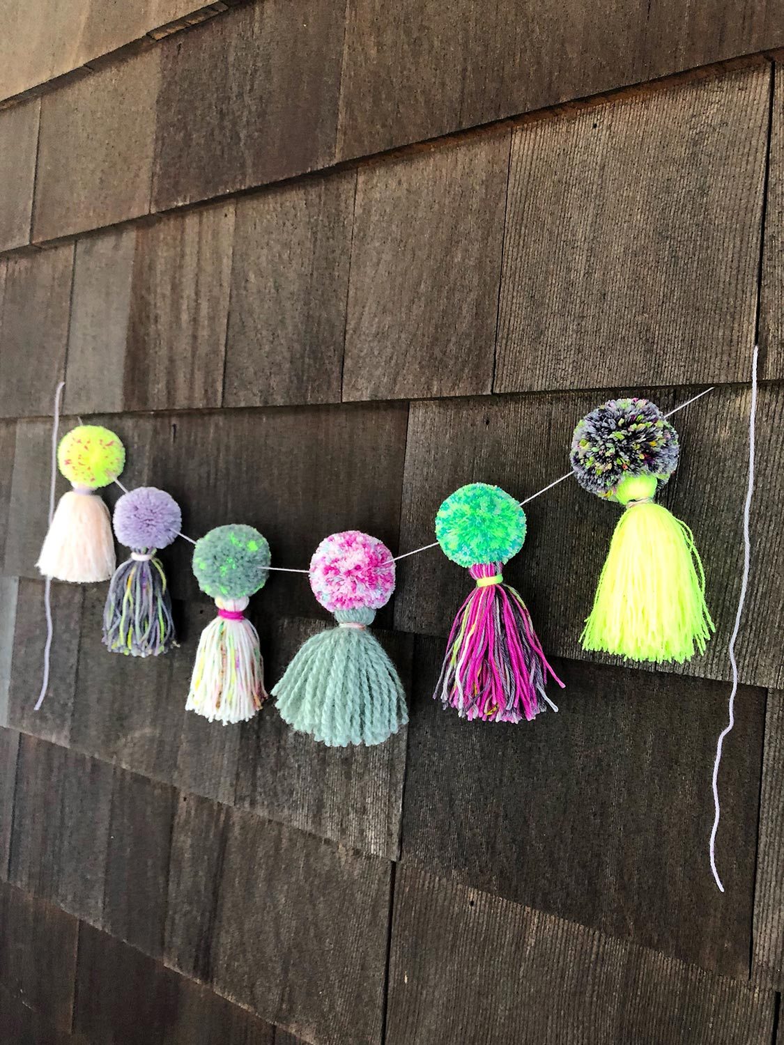 Neon Tea Party Pom Pom Garland Tassel