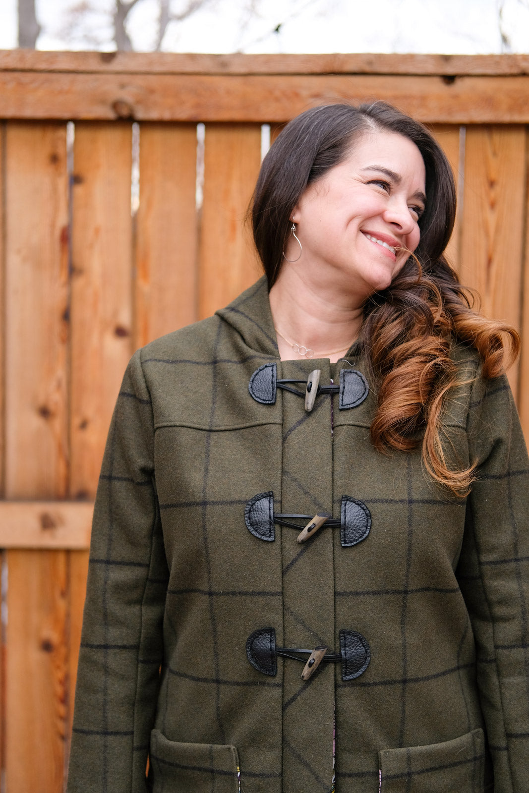 Detail of the toggle closure on Tiffani's Cascade Duffle Coat
