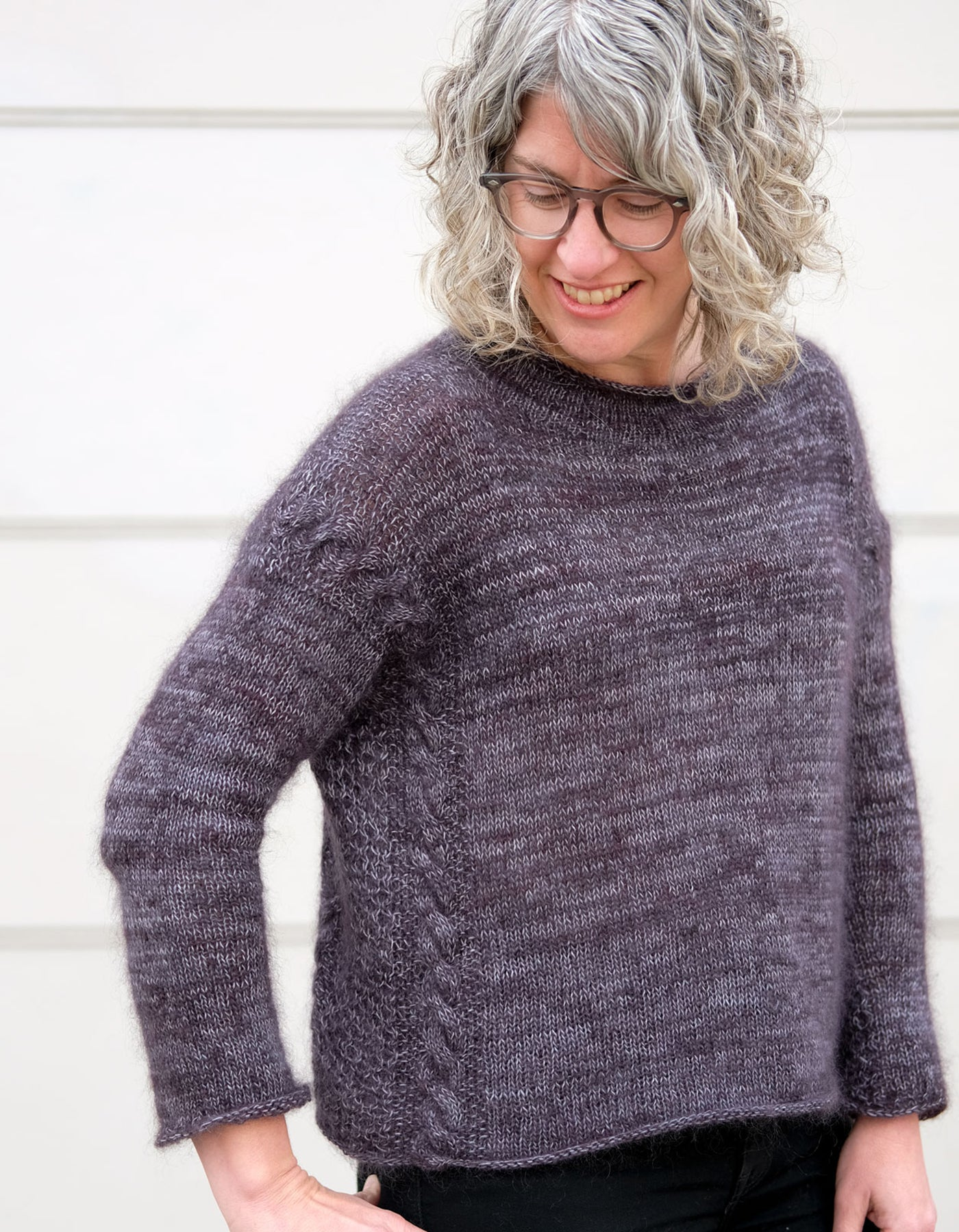 Jaime in her handknit marled yarn soiree sweater