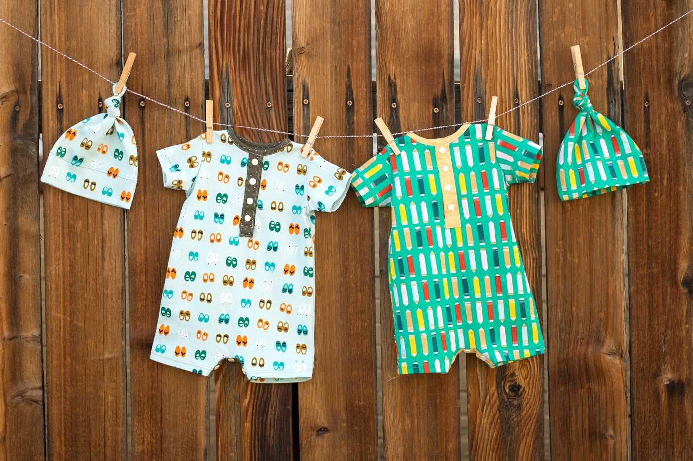 Green Bee Romper in Sidewalk Knits