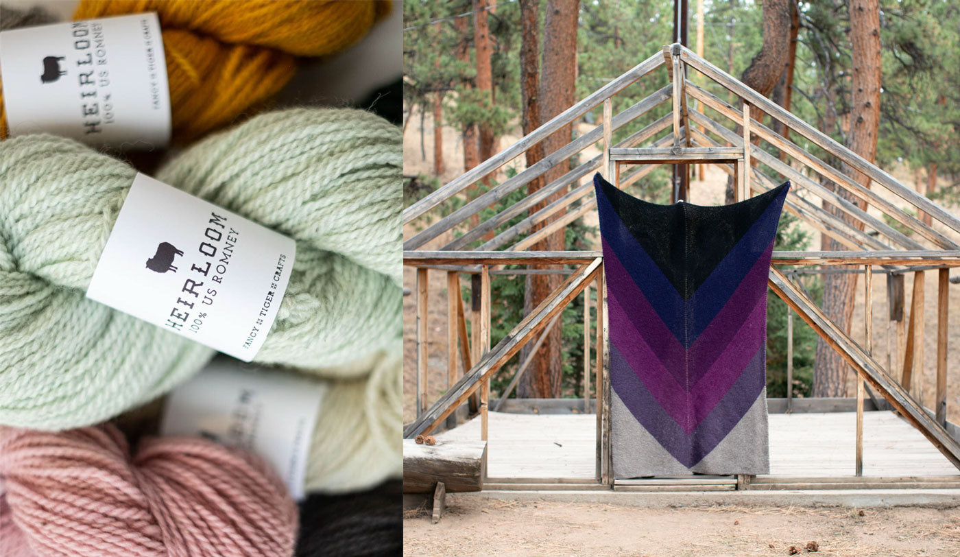 Two images: On the left a detail shot of a pile of yarn in hues of pale mint, mustard, and cotton candy pink. On the right, a large blanket knit in a striking chevron pattern hangs in the doorway of a wooden framed structure.
