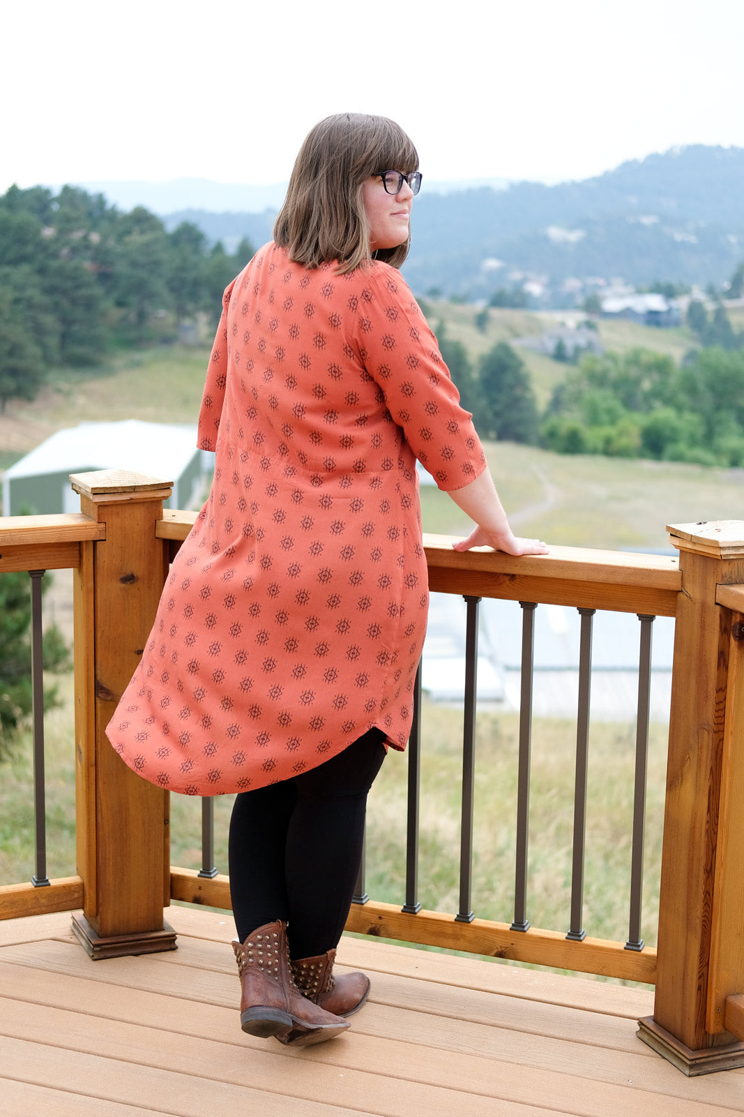 Rayon Helmi Tunic blowing in the breeze