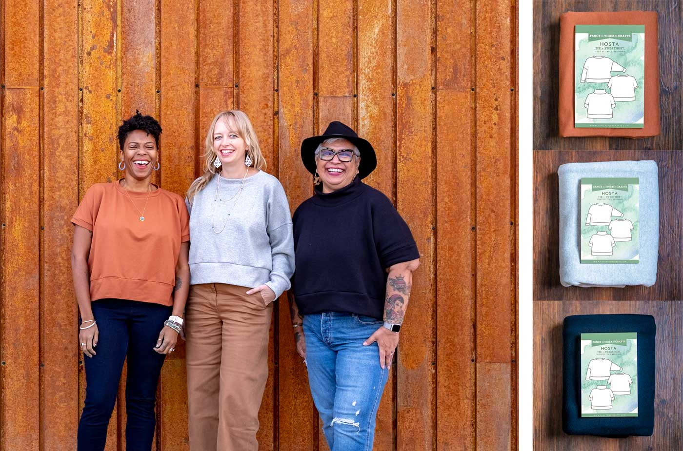 Left: Three women standing in front of a tarnished metal wall, wearing three versions of the Hosta pattern. Kim in a rust-orange Hosta Tee, Amber in a grey sweatshirt, and Yolanda in a black funnel neck top. Right: Three Hosta bundles: Rust Tee, Grey Sweatshirt, and Black Funnel Neck