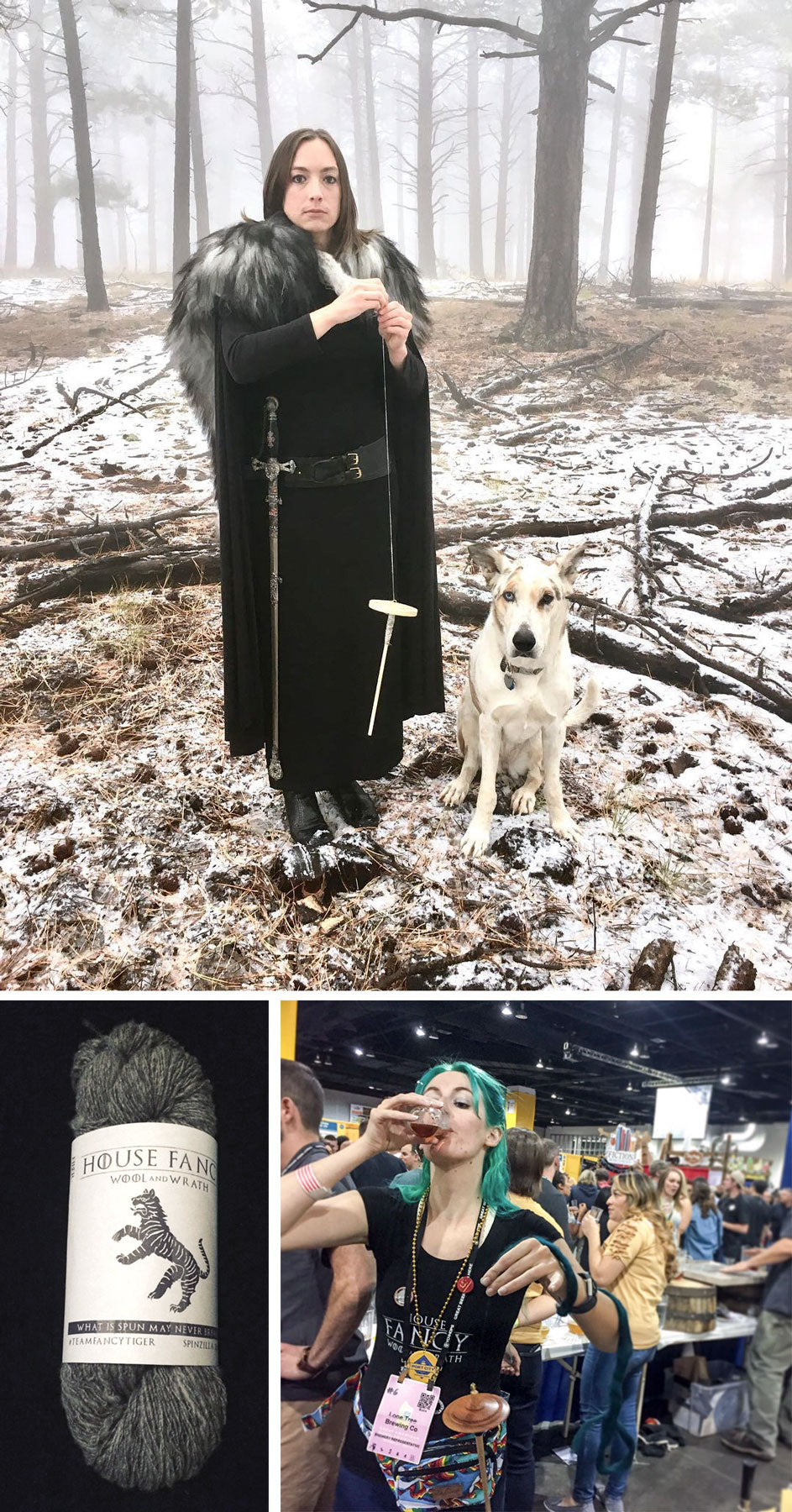 Collage of three images: Kim dressed in black cloak with furs and sword, spinning yarn in a snowy forest, A grey skein of yarn, Melanie spinning while drinking beer at Great American Beer Fest