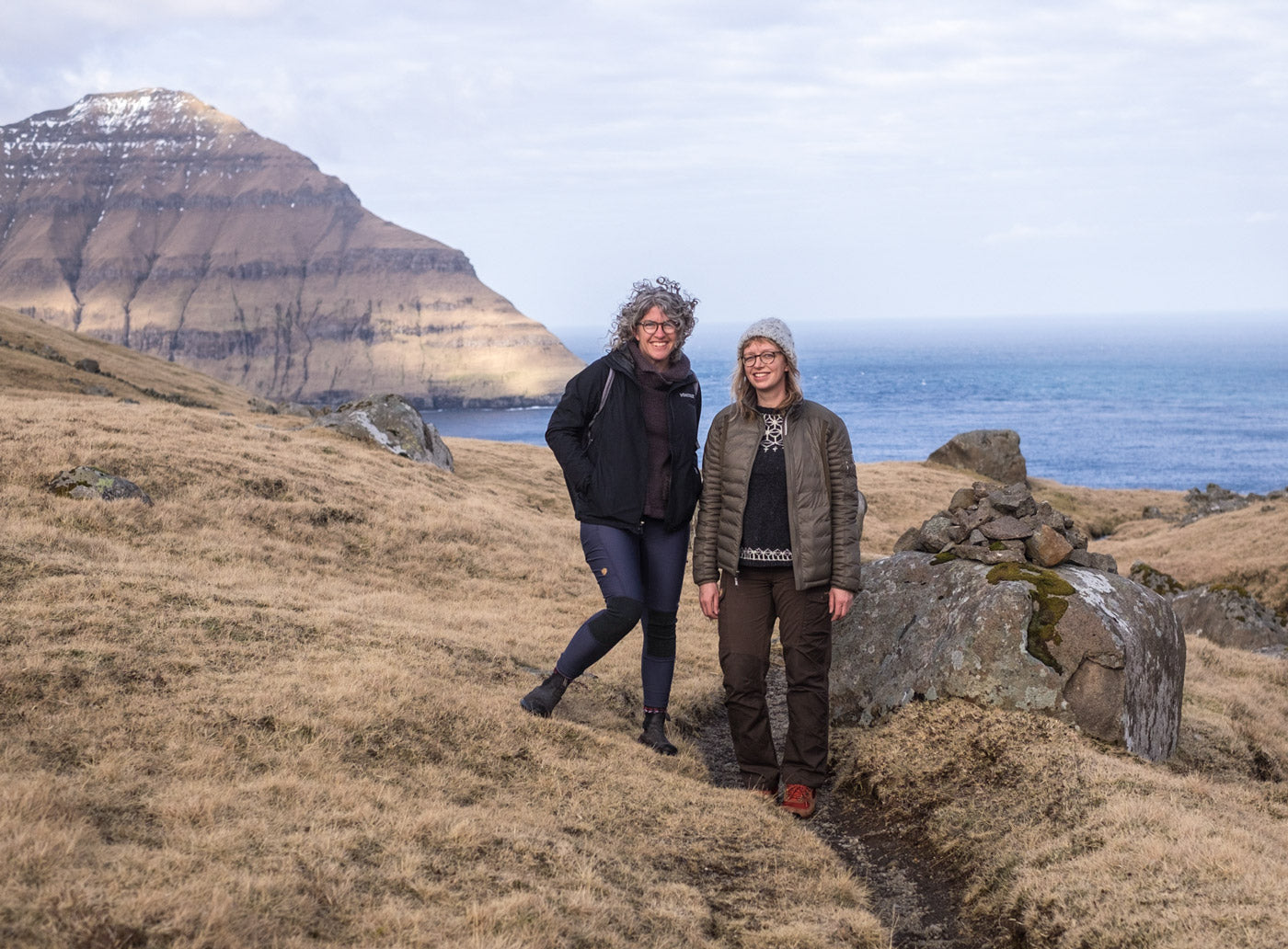 Jaime and Amber hiking in Faroe