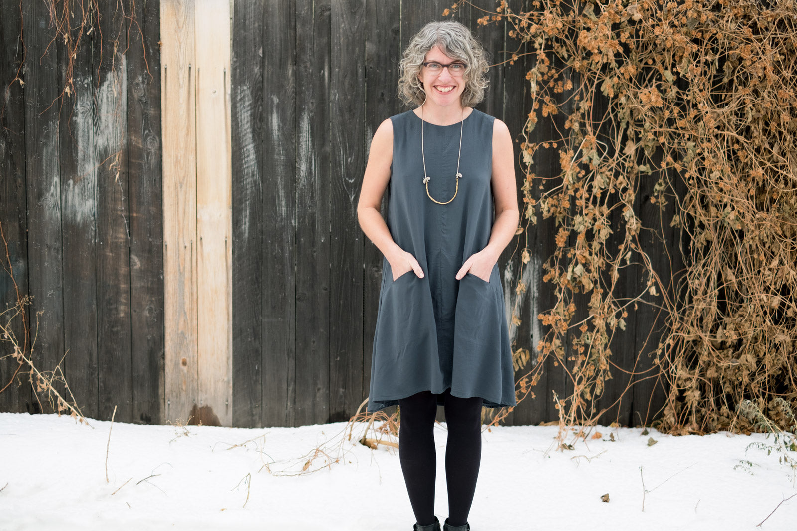 Jaime in Grainline Studio's Farrow Dress