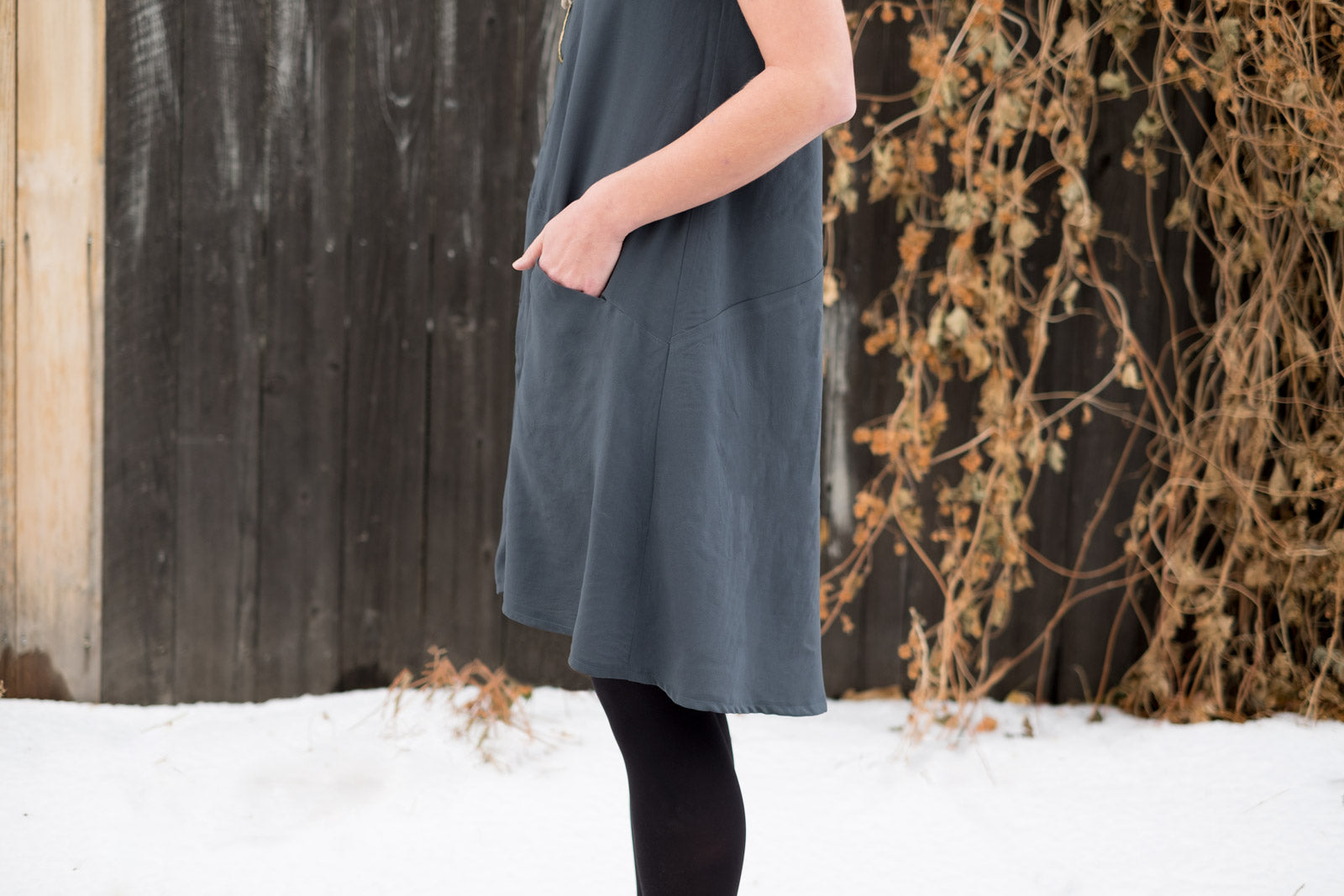 Farrow Dress in Grey Viscose Bastiste