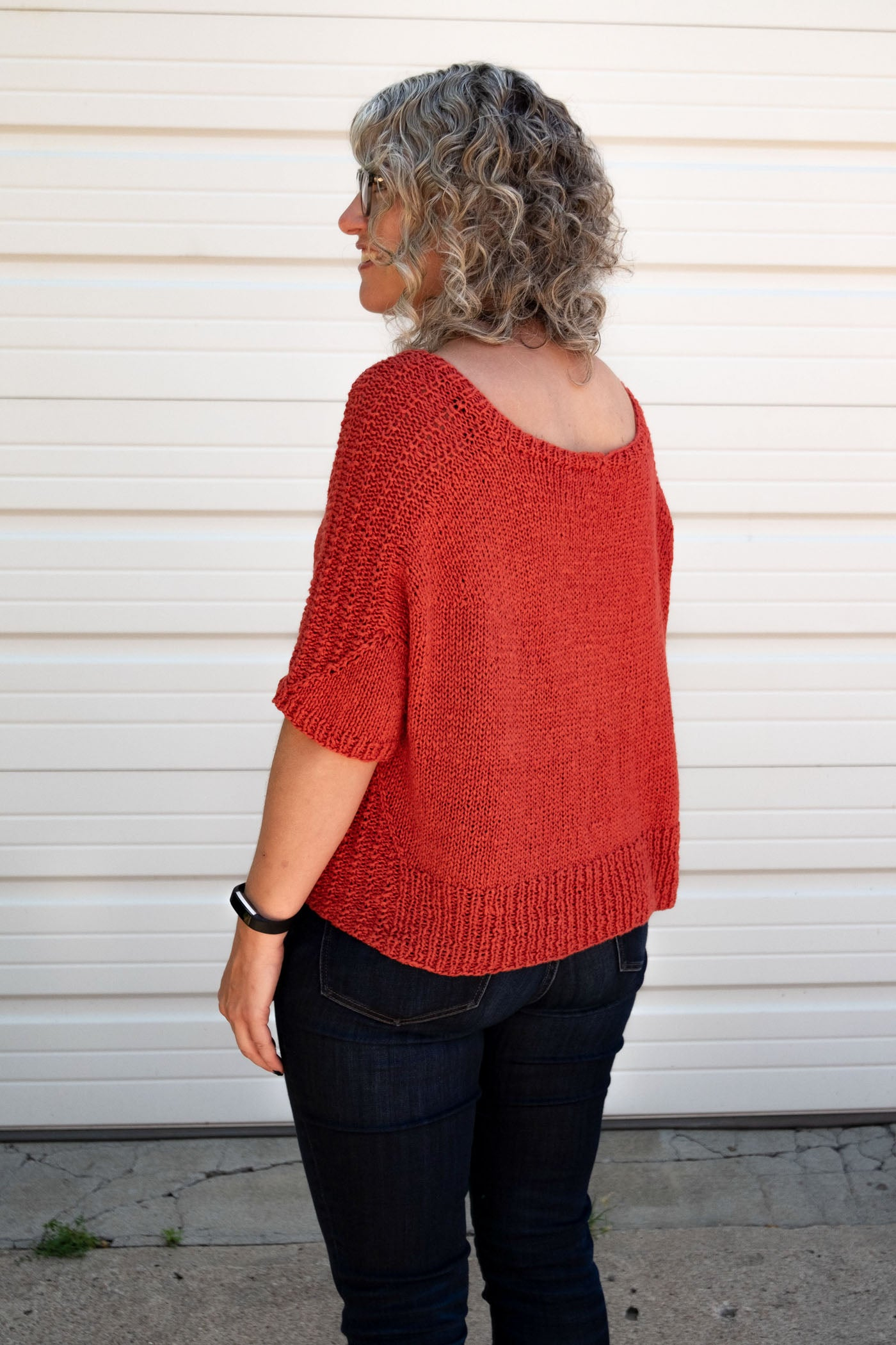 back view of brin hand knit sweater