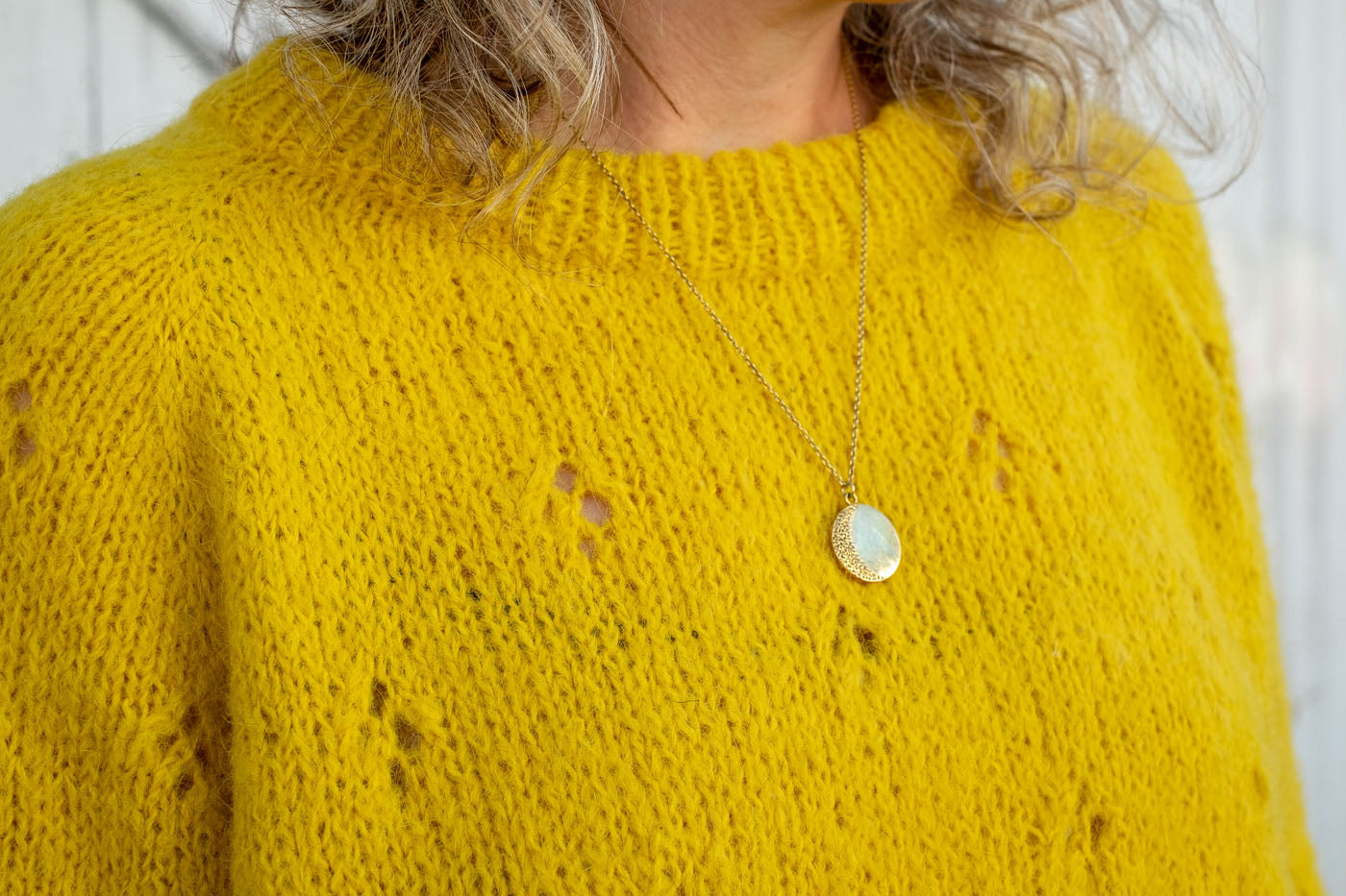 close up of handknit sweater