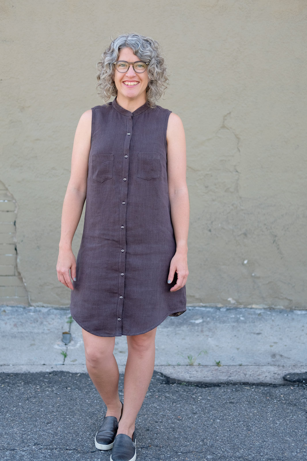 Jaime's Alder Shirtdress in Charcoal Sorrento Linen