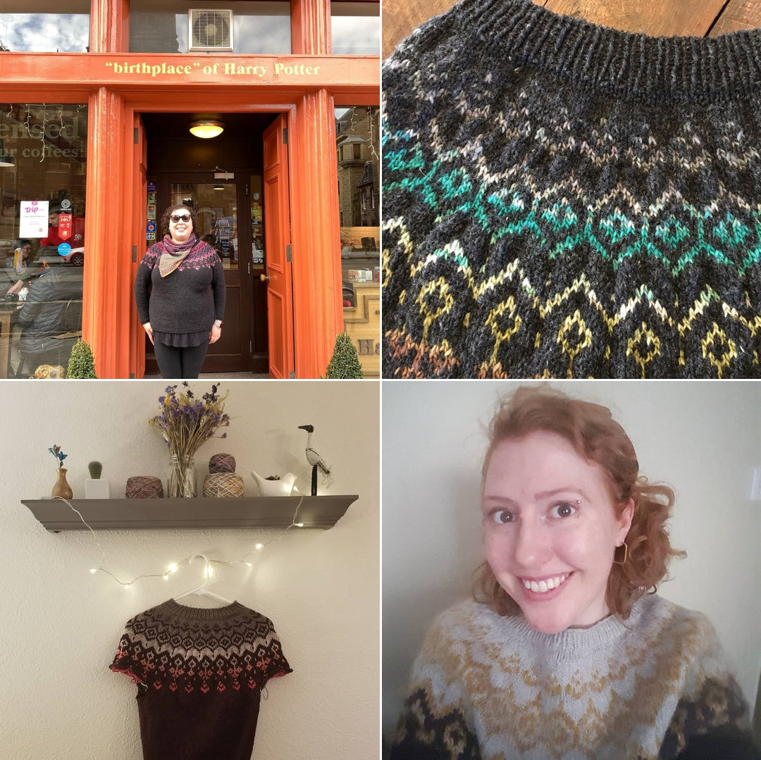 Four square image showing 4 photographs of sweaters.