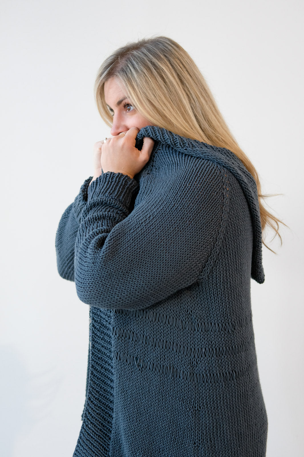 Kelly Snuggled up in her Parsley Sage Cardigan