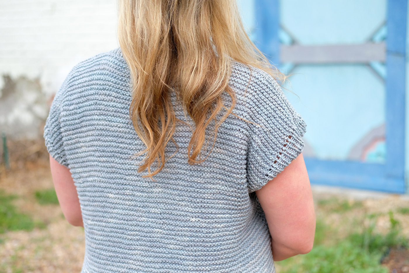 The back of Kelly's Moonstone Sweater
