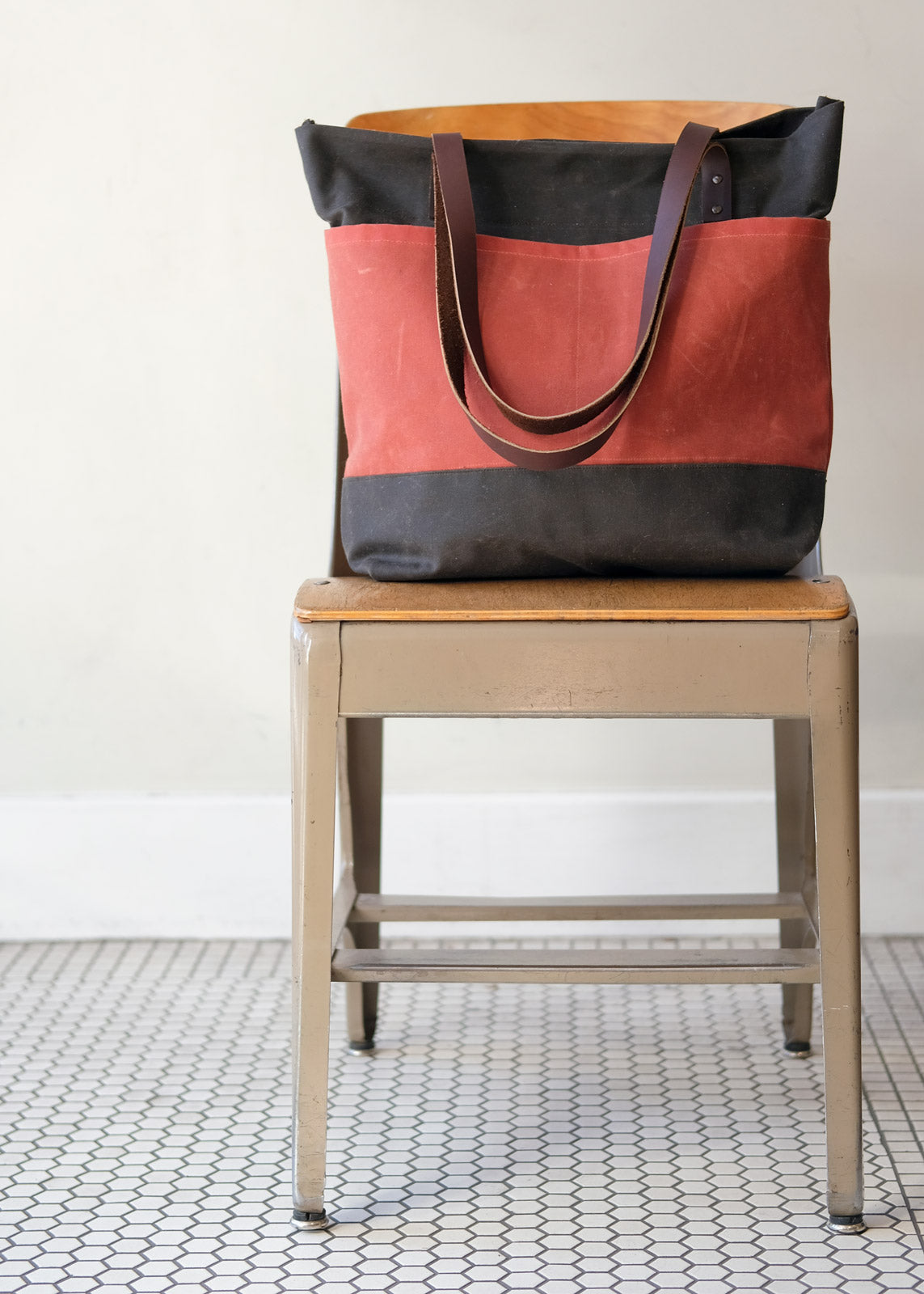 Oberlin Tote in red and navy waxed canvas