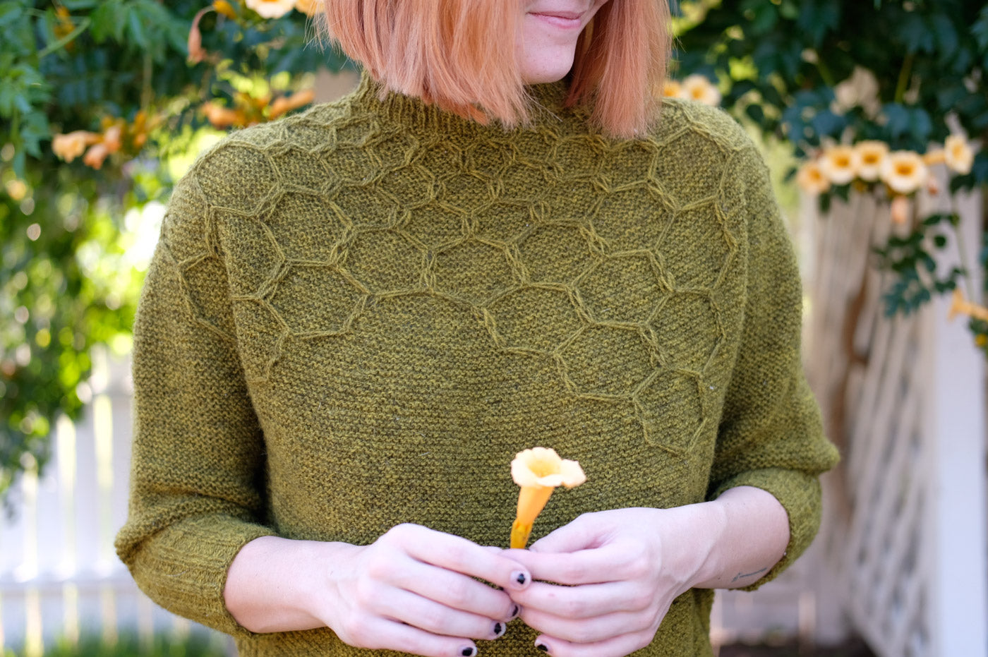Lauren's yellow-green Tukuwool Wool and Honey Sweater