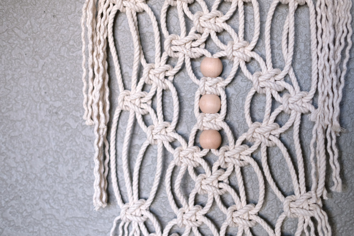 Bead Detail on Lauren Wright's Macrame Wall Hanging