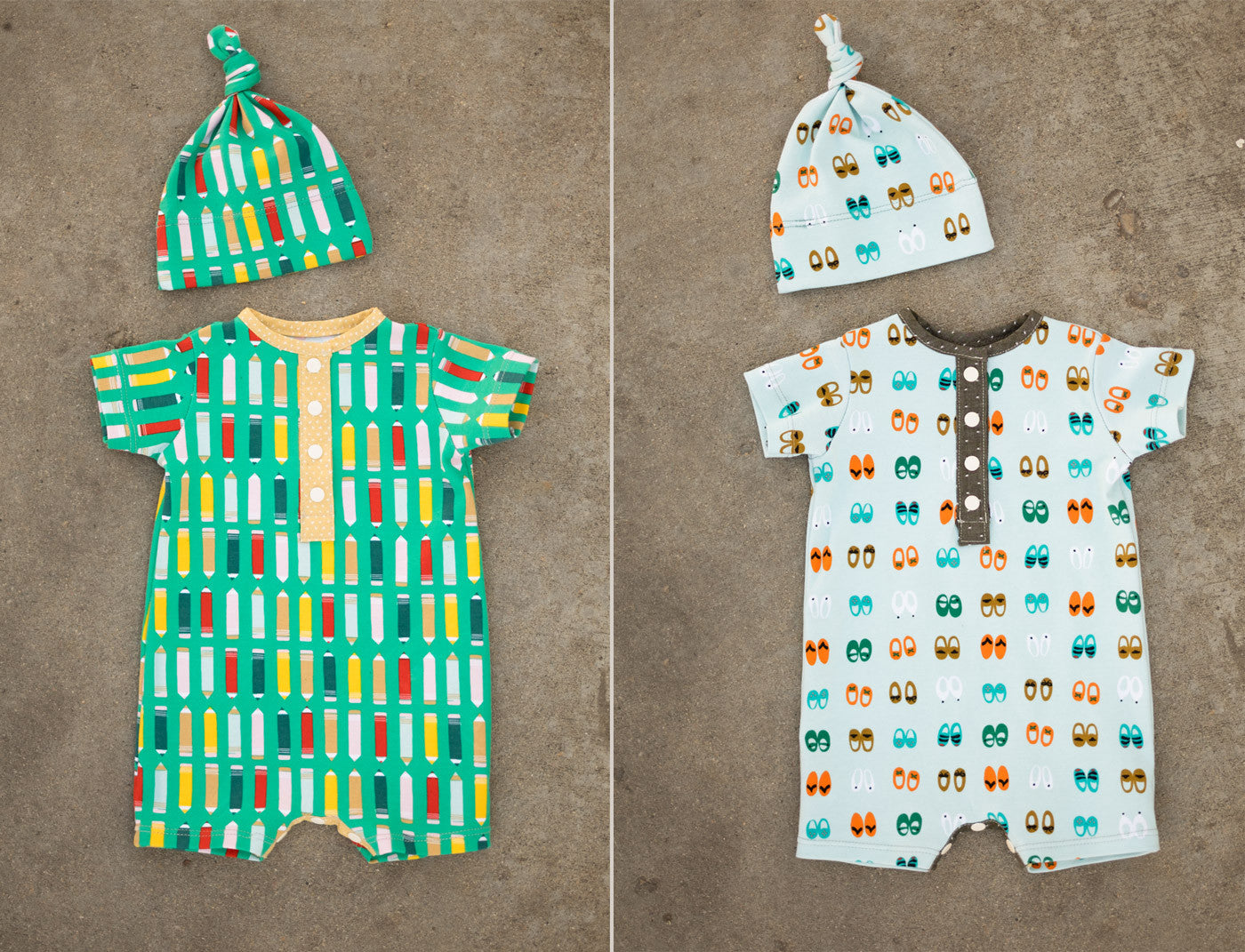 Twin Green Bee Modern Baby Rompers