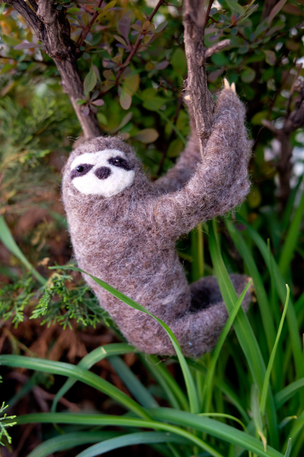 Needle Felted Sloth hanging in a bush