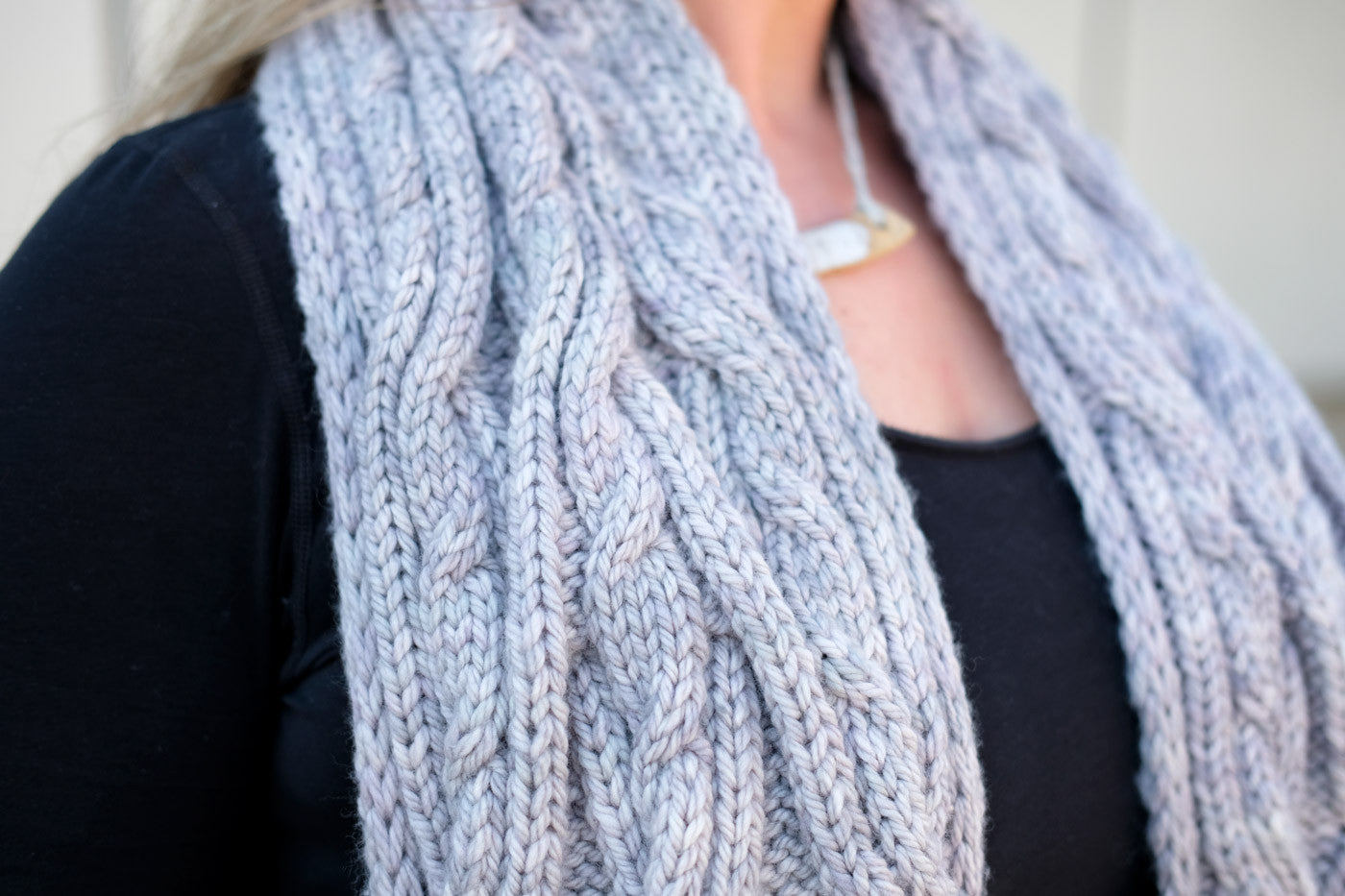 Cabled Malabrigo Chunky in Pearl