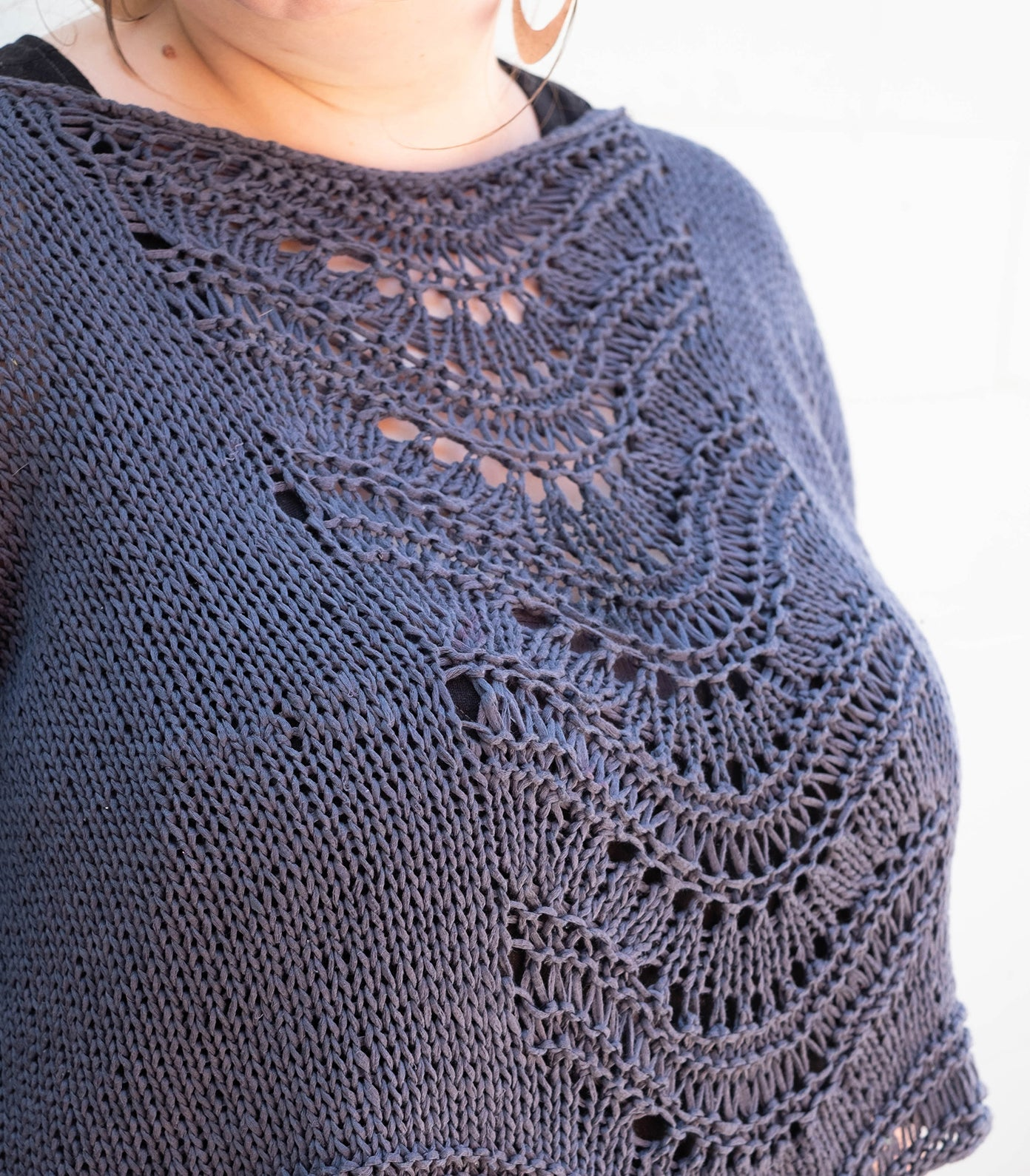 close up of marta's handknit deschain sweater