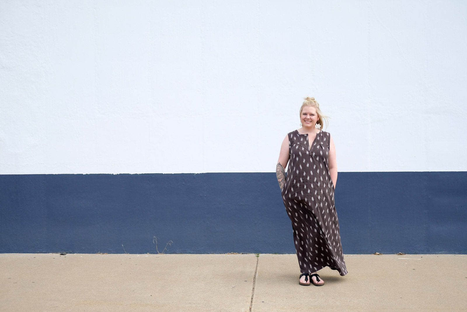 Heather in her grey Ikat maxi Brome